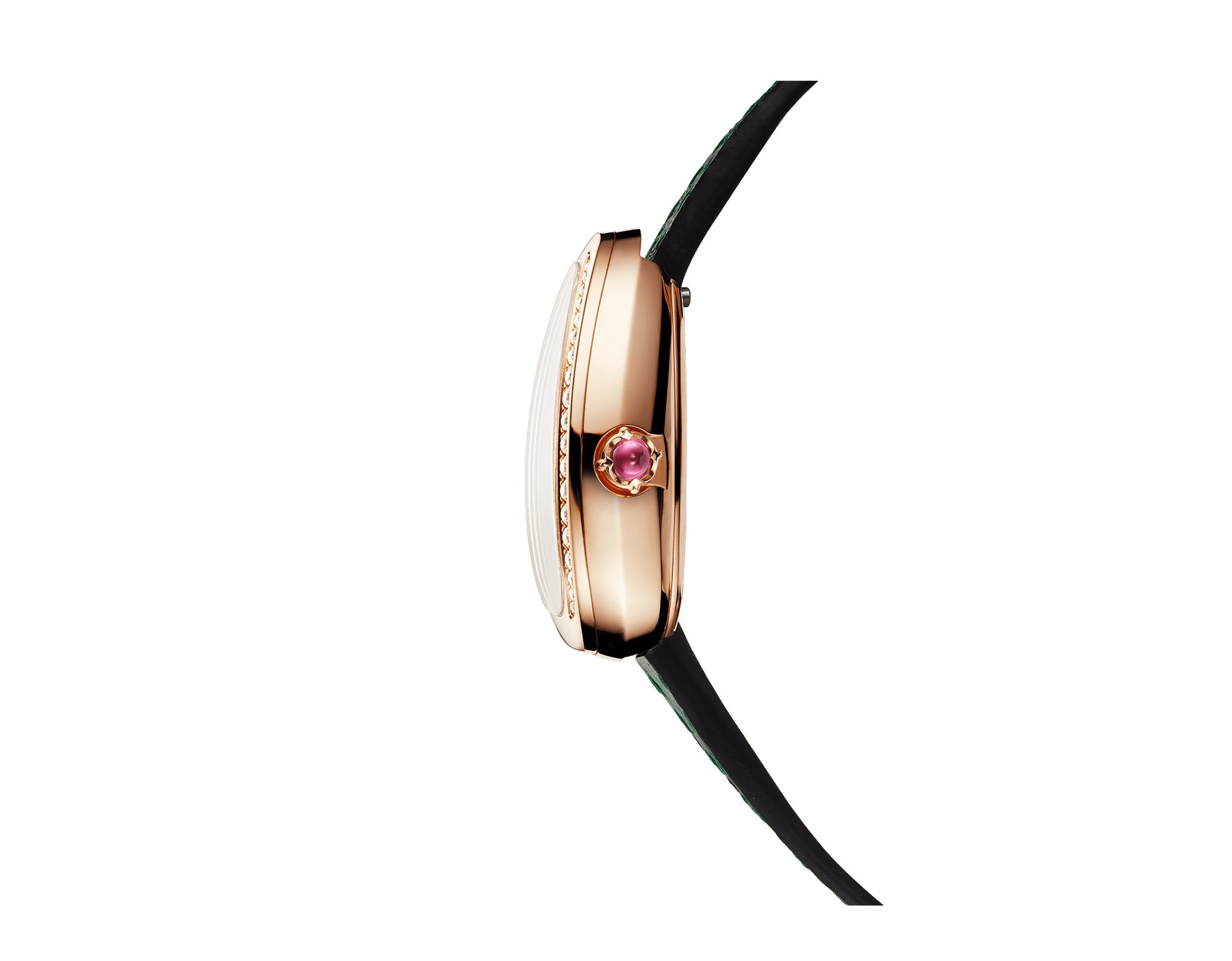 Serpenti watch with 18 kt rose gold case set with round brilliant-cut diamonds, black lacquered dial and interchangeable double spiral bracelet in green karung leather 102918 image 2