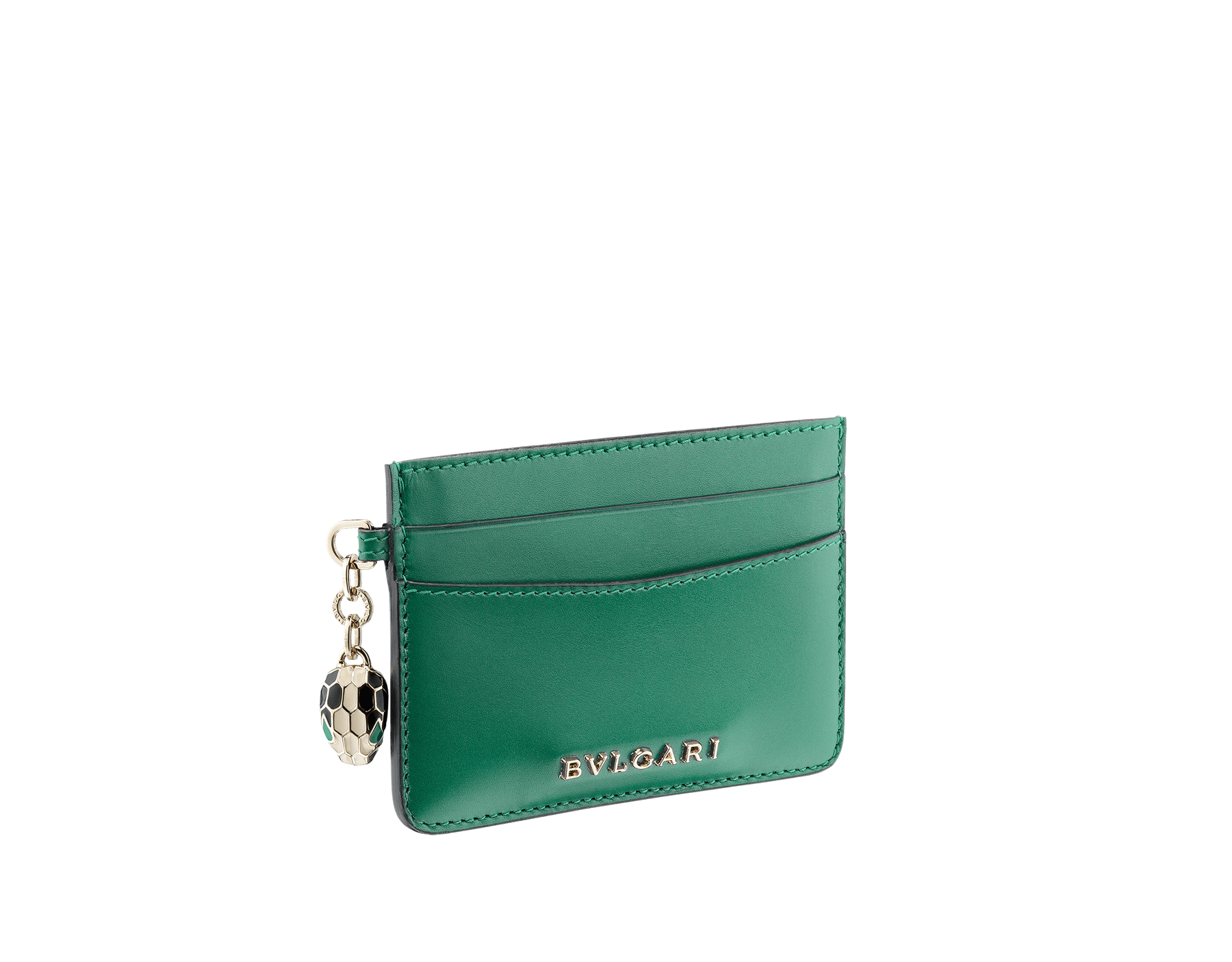Credit card holder in emerald green and violet amethyst calf leather. Serpenti charm in black and white enamel with green malachite enamel eyes and Bulgari logo in metal characters. Four credit card slots and one compartment. Also available in other colours. 10,5 x 7,5 cm. - 4.1. x 3.0'' 282019 image 1