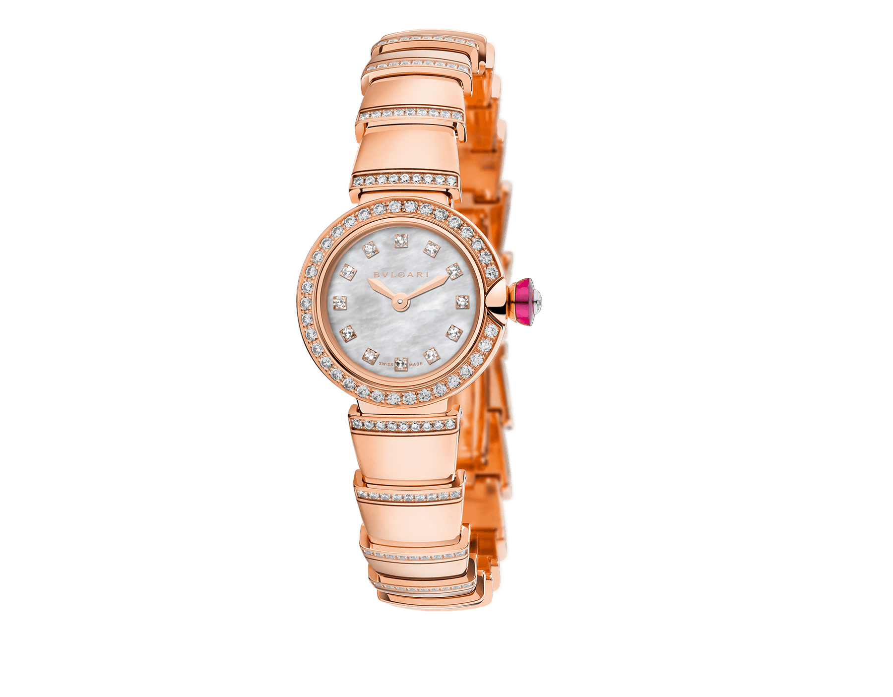 Piccola Lvcea watch in 18kt rose gold case and bracelet, both set with brilliant-cut diamonds, white mother-of-pearl dial and diamond indexes. 102503 image 1