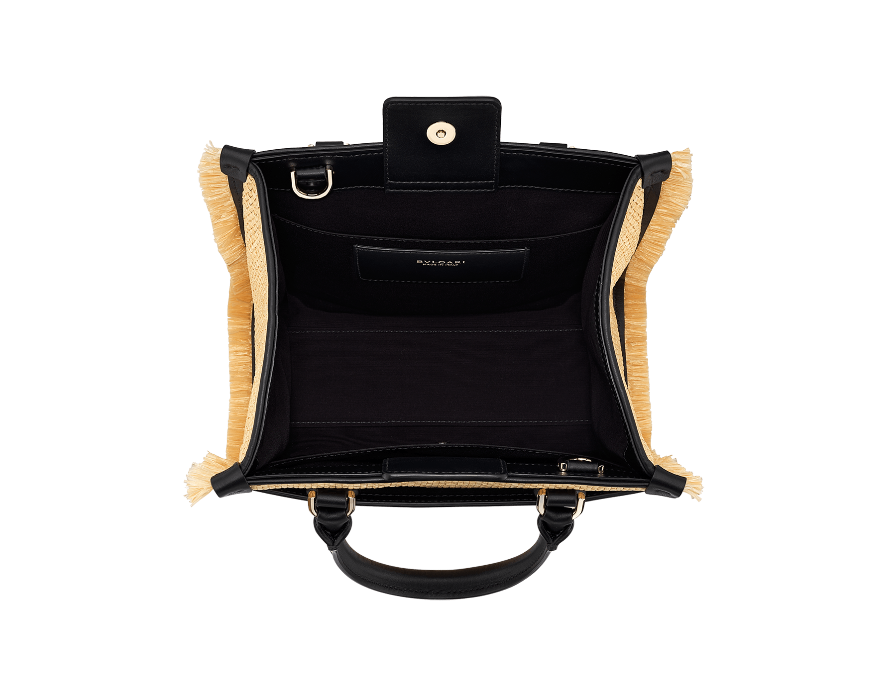 """Bvlgari Logo"" tote bag in beige raffia enhanced with beige raffia fringes, and black grosgrain internal lining. Bvlgari logo featured with chain inserts on the black calf leather. 290953 image 4"