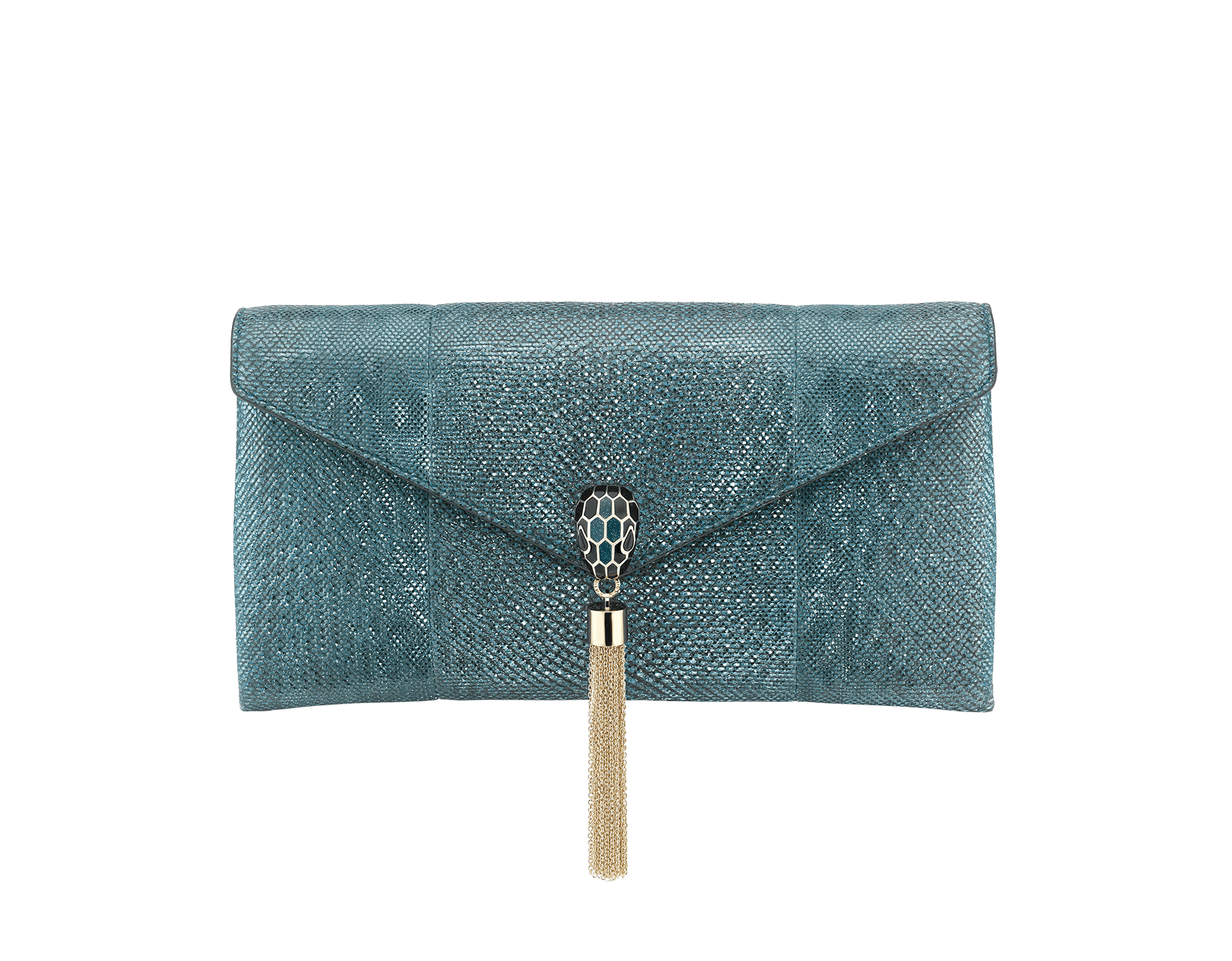 """Serpenti"" evening clutch in multicolor metallic karung skin, with black nappa leather internal lining. Tempting snakehead stud closure in light pink gold plated brass enriched with black and glitter ultra pink gold enamel and black onyx eyes. 526-001-0817S-MK image 1"