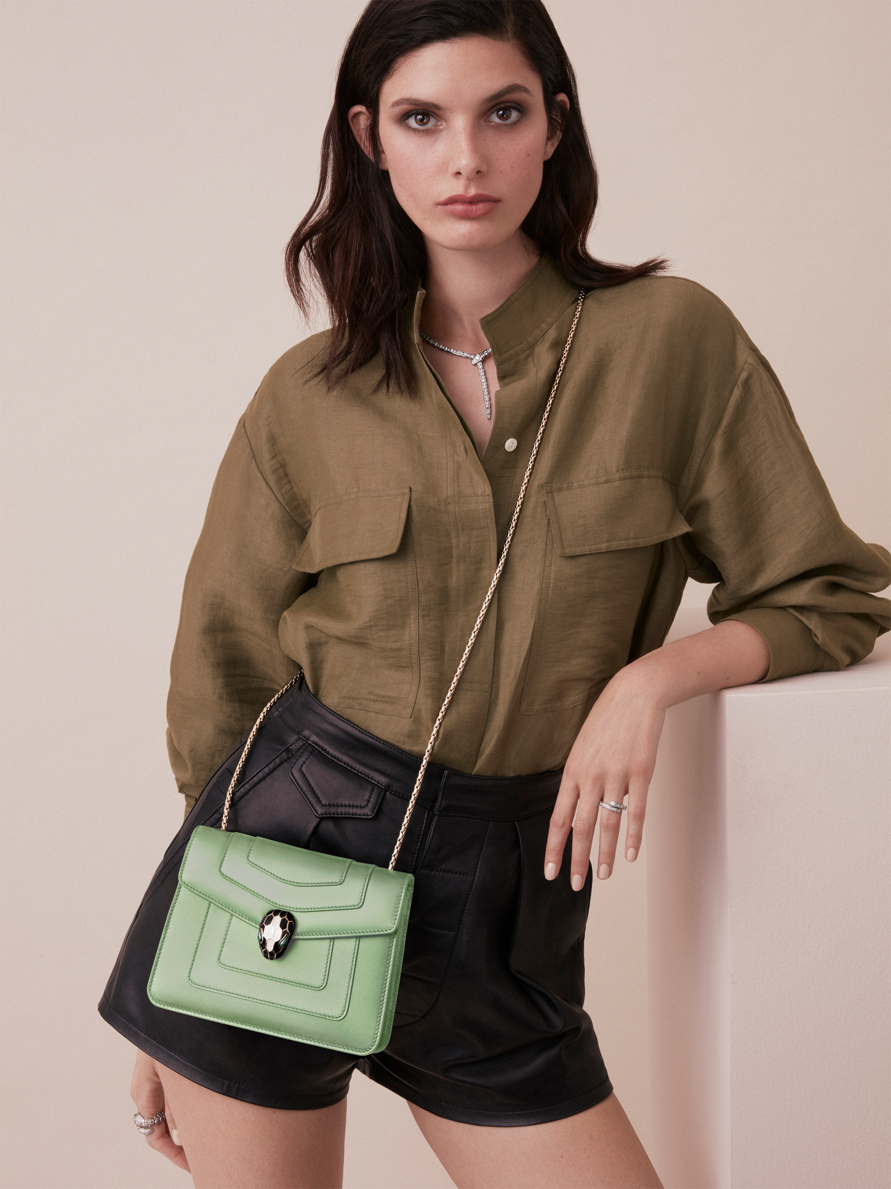 """Serpenti Forever"" crossbody bag in mint calf leather. Iconic snakehead closure in light gold plated brass enriched with black and white agate enamel, and green malachite eyes. 422-CLd image 5"