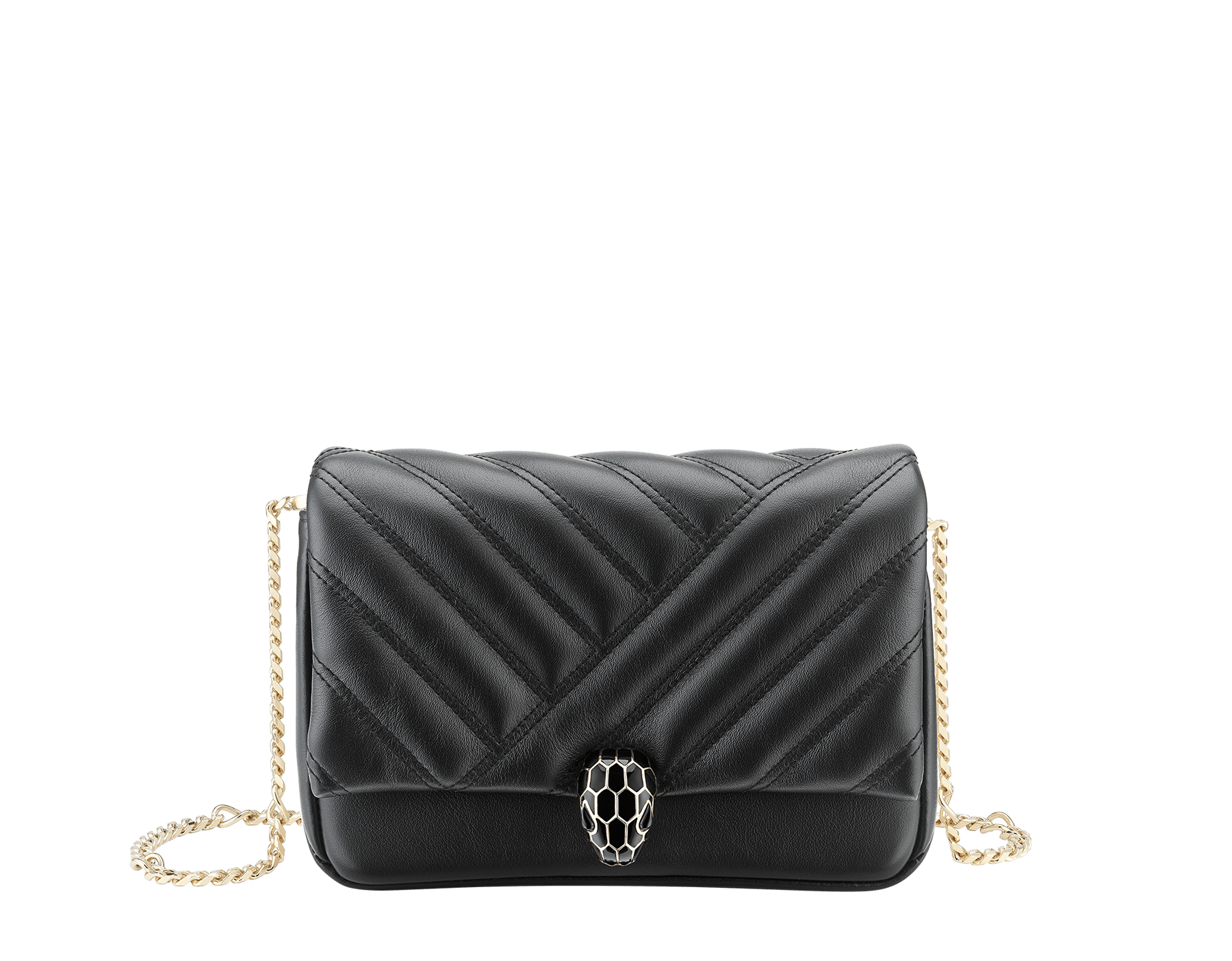 Serpenti Cabochon micro bag in soft matelassé black calf leather, with a graphic motif. Brass pink gold plated tempting snake head closure in black enamel and black onyx eyes. 288755 image 1
