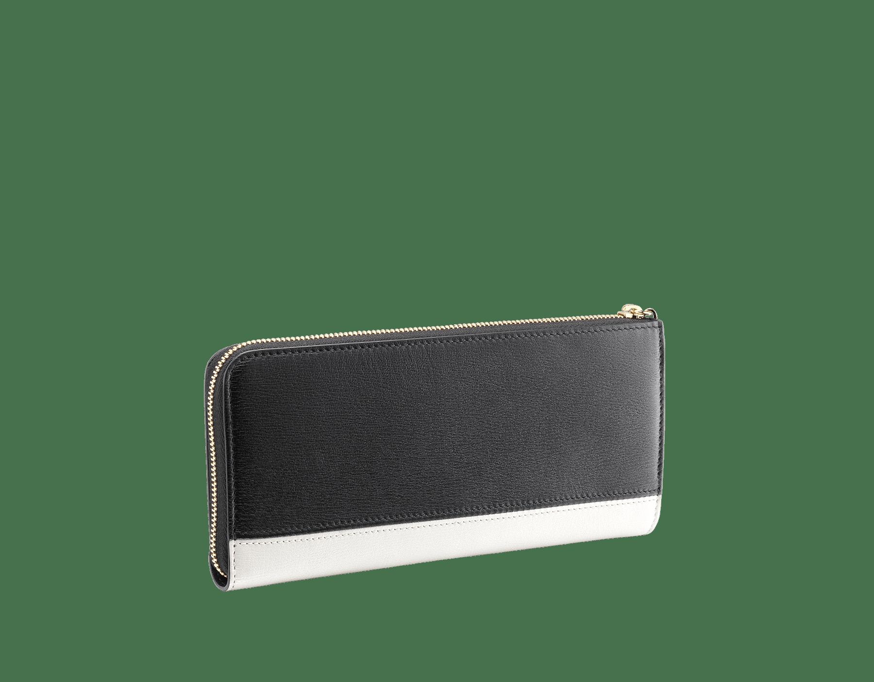 デイジートパーズとタフィークォーツのゴートスキン、およびタフィークォーツのナッパ製「ビー・ゼロワン」L型ジップ付きの財布。ブラスライトゴールドプレートのアイコニックな「ビー・ゼロワン」ロゴのジッププラー。 BZA-WLT-MZP-SLIM-L image 5