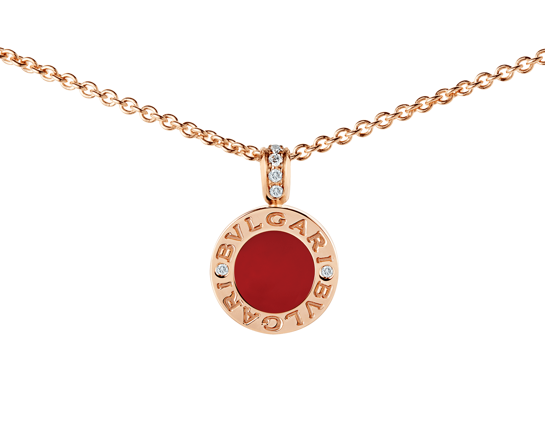 BVLGARI BVLGARI necklace with 18 kt rose gold chain and pendant, set with carnelian and mother-of-pearl discs and with details in pavé diamonds. 352883 image 3