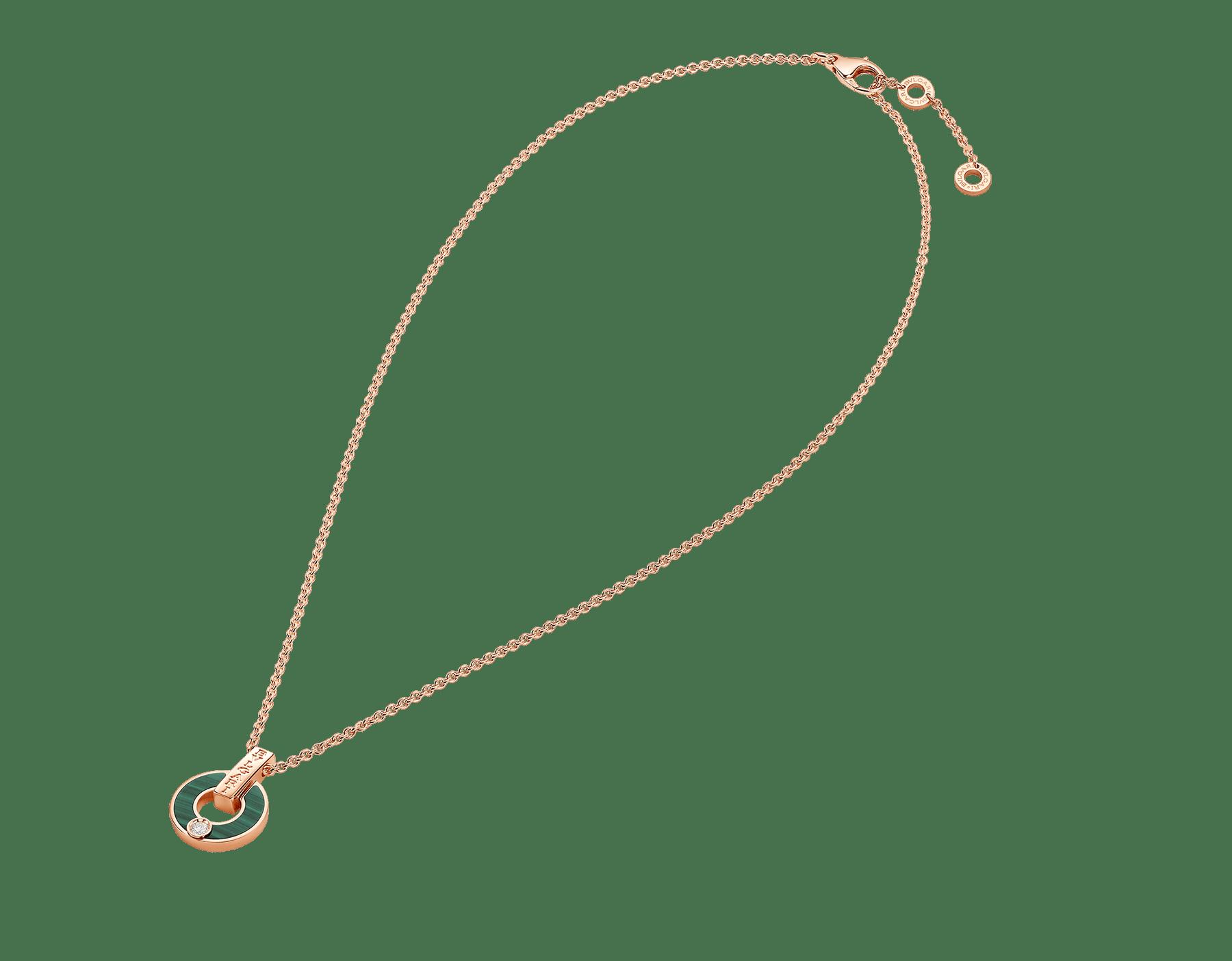 Skelettierte BVLGARI BVLGARI Halskette aus 18 Karat Roségold mit Malachit-Elementen und einem runden Diamanten im Brillantschliff 357313 image 2
