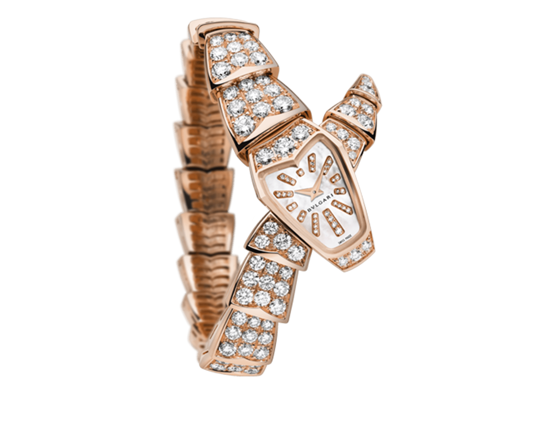 Serpenti Jewellery Watch in 18 kt rose gold case and single spiral bracelet, both set with brilliant cut diamonds, pink mother-of-pearl dial and brilliant cut diamond indexes. 102368 image 1