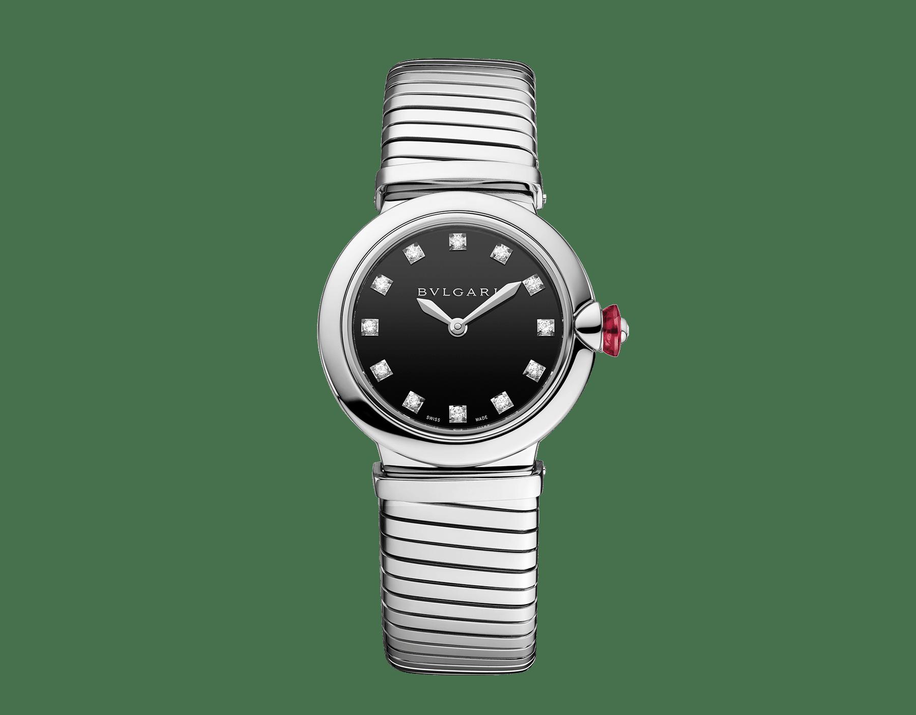 Reloj LVCEA Tubogas con caja y brazalete tubogas en acero inoxidable, esfera lacada en negro y diamantes engastados como índices. 102951 image 1