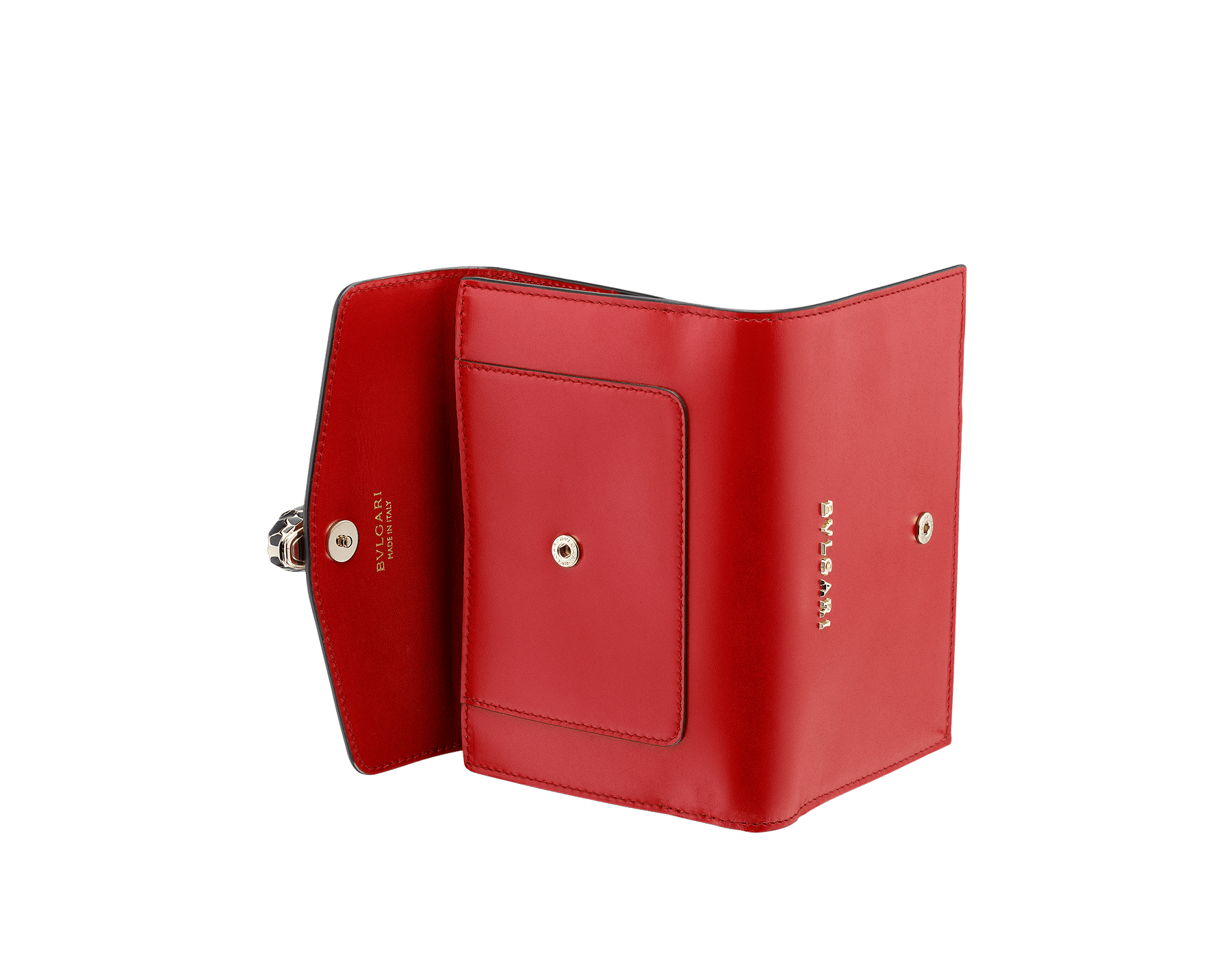 Compact pochette in ruby red calf leather, desert quartz calf leather and fuxia nappa lining. Brass light gold plated Serpenti head stud closure with green malachite eyes. 282666 image 3