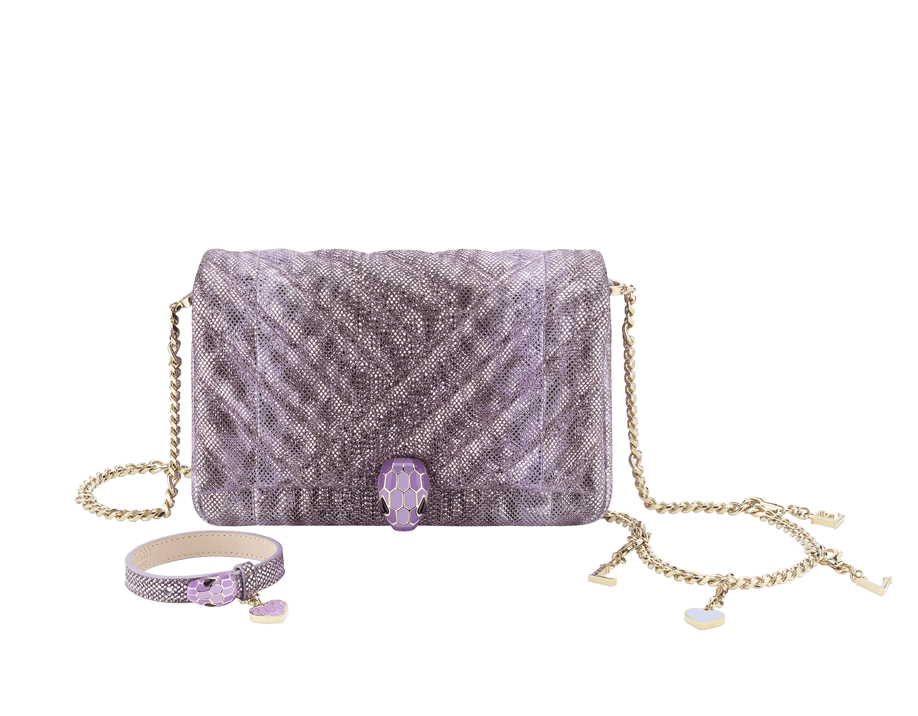 """""Chinese Valentine's Day"""" Special Edition exclusive gift set featuring a bag and a bracelet. """"Serpenti Cabochon"""" mini bag in soft matelassè lavender metallic karung skin, with a graphic motif. Light gold plated tempting brass snakehead closure in dégradé lavender from ultra-dark to light enamel and black onyx eyes. """"Serpenti Forever"""" bracelet in lavender metallic karung skin with an iconic snakehead decoration in dégradé lavender from ultra-dark to light enamel and black onyx eyes. 290472 image 2"