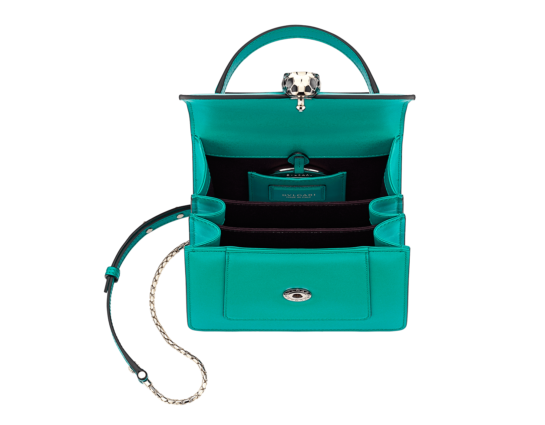"""Serpenti Forever "" crossbody bag in cobalt tourmaline calf leather. Iconic snakehead closure in light gold plated brass enriched with black and white enamel and green malachite eyes 752-CLd image 4"