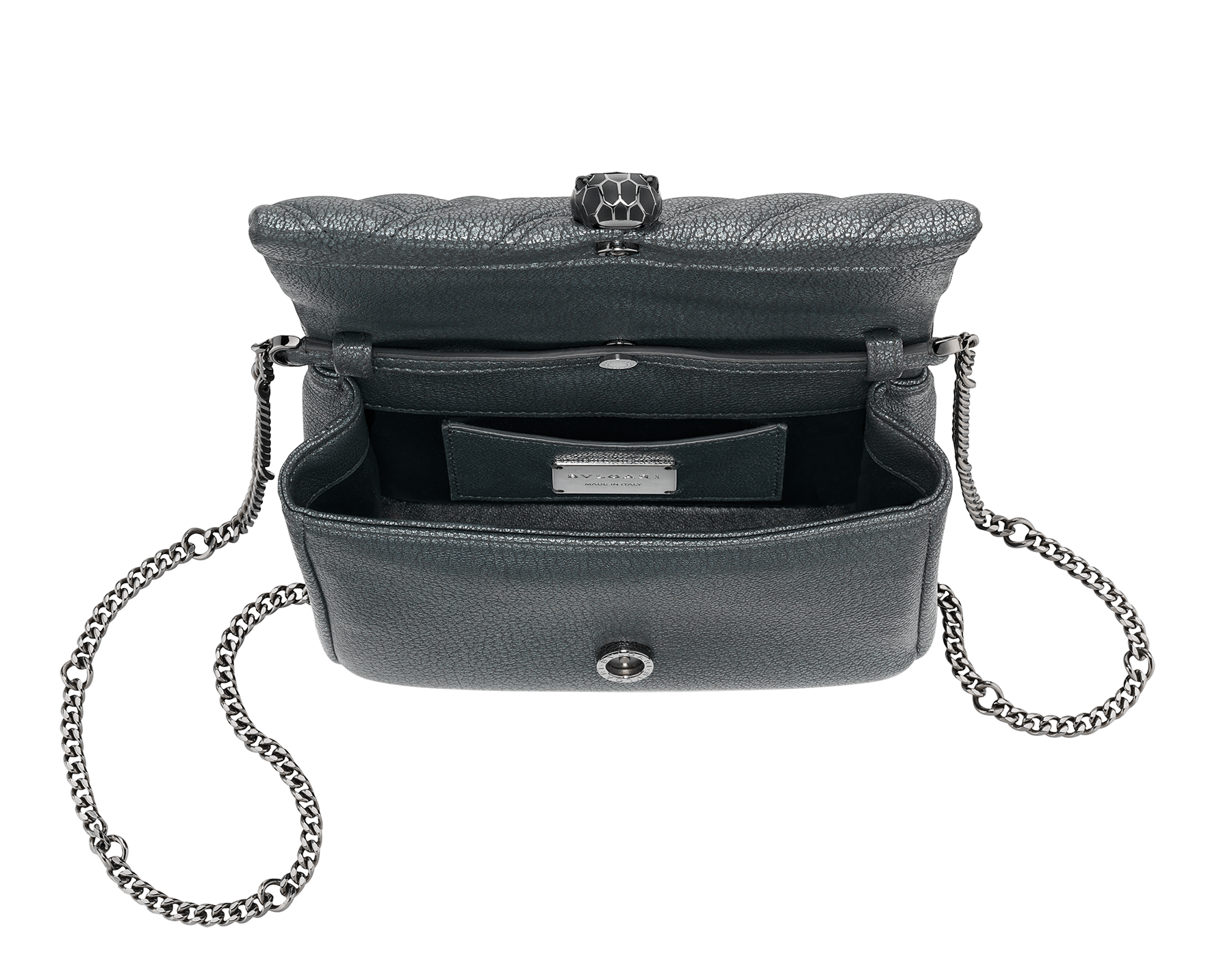 """Serpenti Cabochon"" crossbody mini bag in soft matelassé charcoal diamond goatskin with a pearled effect and a graphic motif. Brass palladium plated tempting snakehead closure in matte and shiny black enamel and black onyx eyes. 290276 image 4"