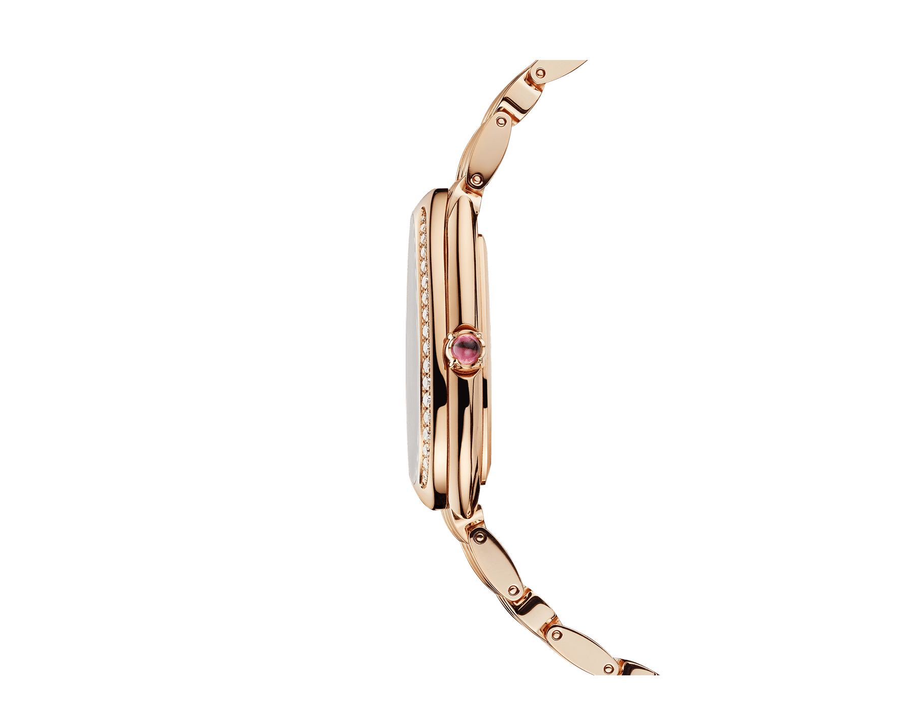 Serpenti Seduttori watch with 18 kt rose gold case, 18 kt rose gold bracelet, 18 kt rose gold bezel set with diamonds and a white silver opaline dial. 103146 image 3