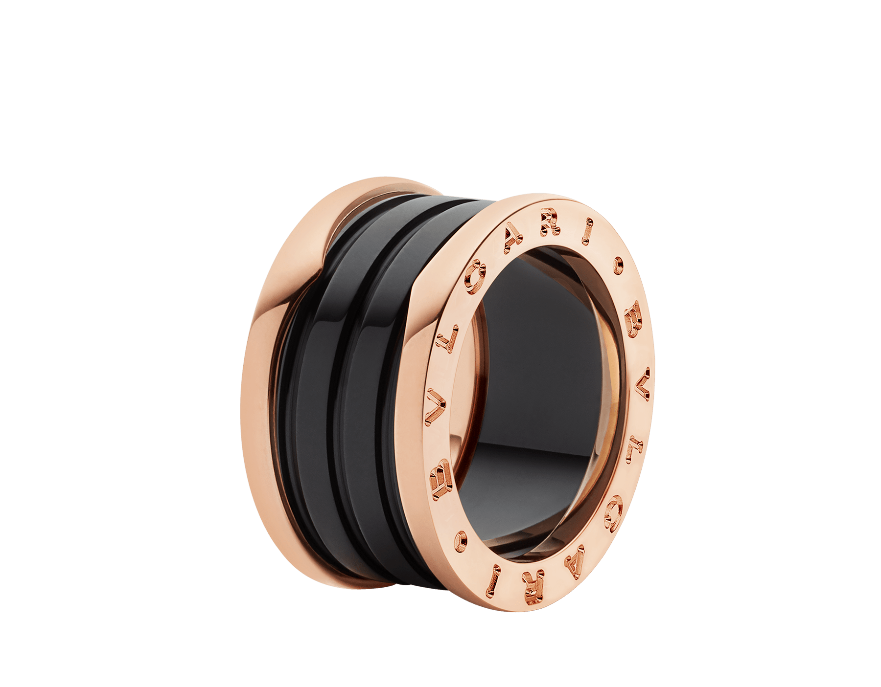 B.zero1 four-band ring with two 18 kt rose gold loops and a black ceramic spiral. B-zero1-4-bands-AN855563 image 1