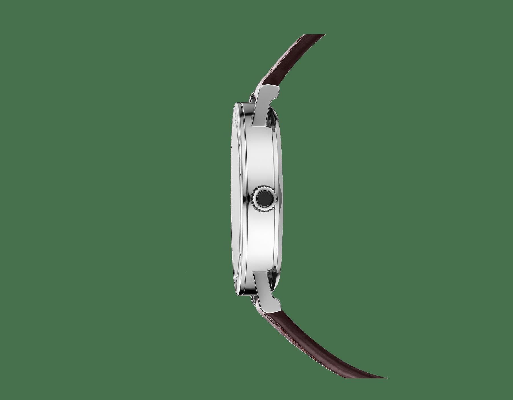 Relógio BVLGARIBVLGARI Solotempo com movimento de manufatura mecânico, corda automática e data, caixa em aço inoxidável, bezel em aço inoxidável gravado com o logotipo duplo, mostrador preto e pulseira em couro marrom 102927 image 2