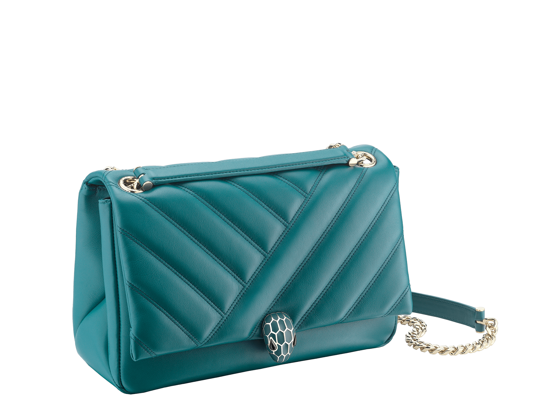 Serpenti Cabochon shoulder bag in soft matelassè deep jade nappa leather, with a graphic motif, and deep jade calf leather. Brass light gold plated tempting snake head closure in matte deep jade and shiny deep jade enamel, with black onyx eyes. 287984 image 2
