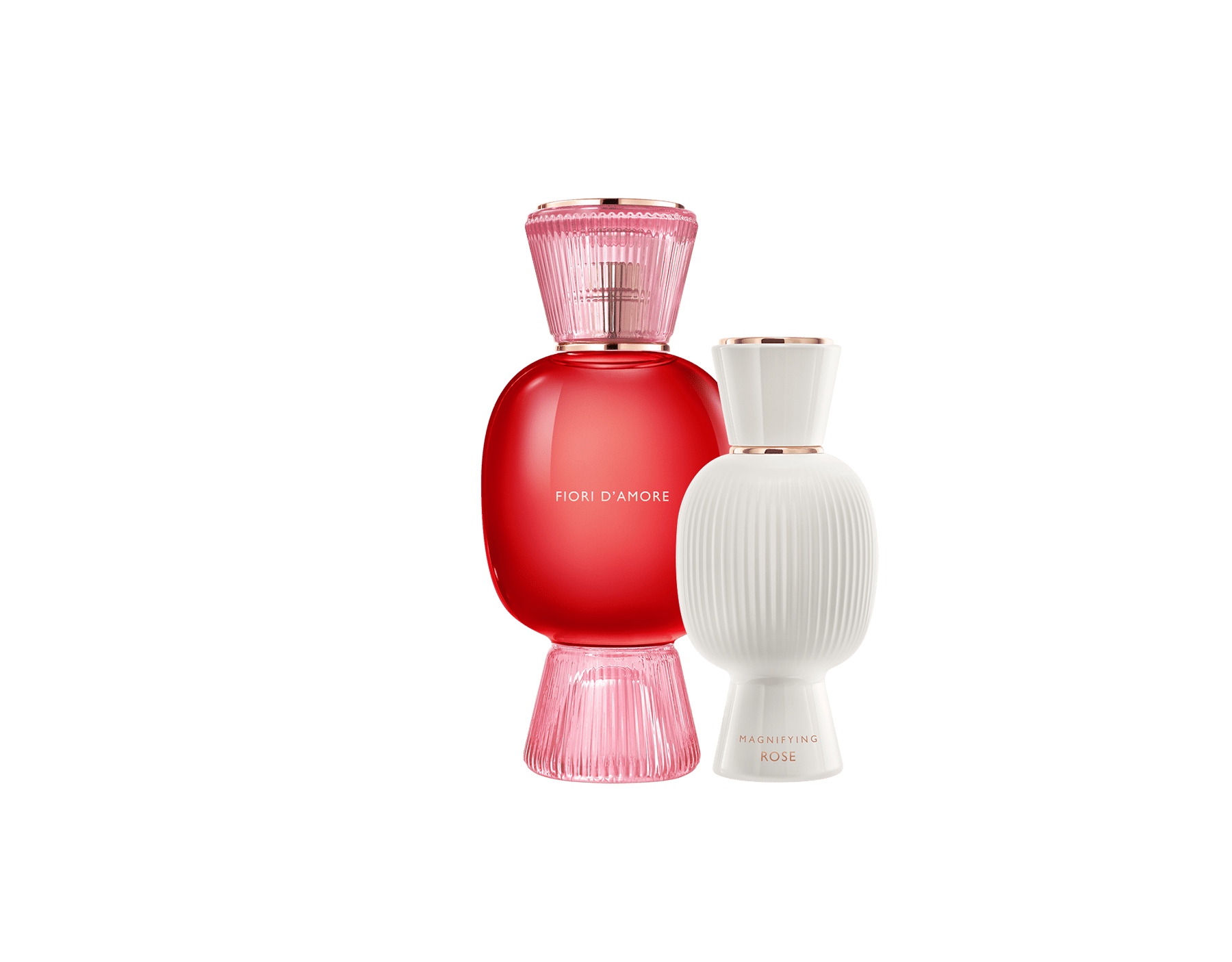 An exclusive perfume set, as bold and unique as you. The magnificent floral Fiori d'Amore Allegra Eau de Parfum blends with the voluptuous intensity of the Magnifying Rose Essence, creating an irresistible personalised women's perfume. Perfume-Set-Fiori-d-Amore-Eau-de-Parfum-and-Rose-Magnifying image 1