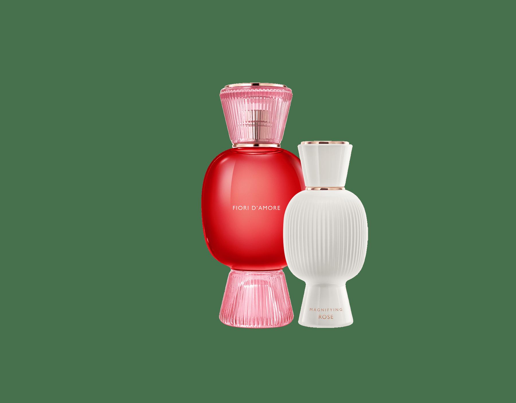 Una exclusiva combinación de perfumes, tan audaz y única como usted. El magnífico Eau de Parfum floral Fiori d'Amore de Allegra se combina con la voluptuosa intensidad de la Magnifying Rose Essence, creando un irresistible perfume femenino personalizado. Perfume-Set-Fiori-d-Amore-Eau-de-Parfum-and-Rose-Magnifying image 1