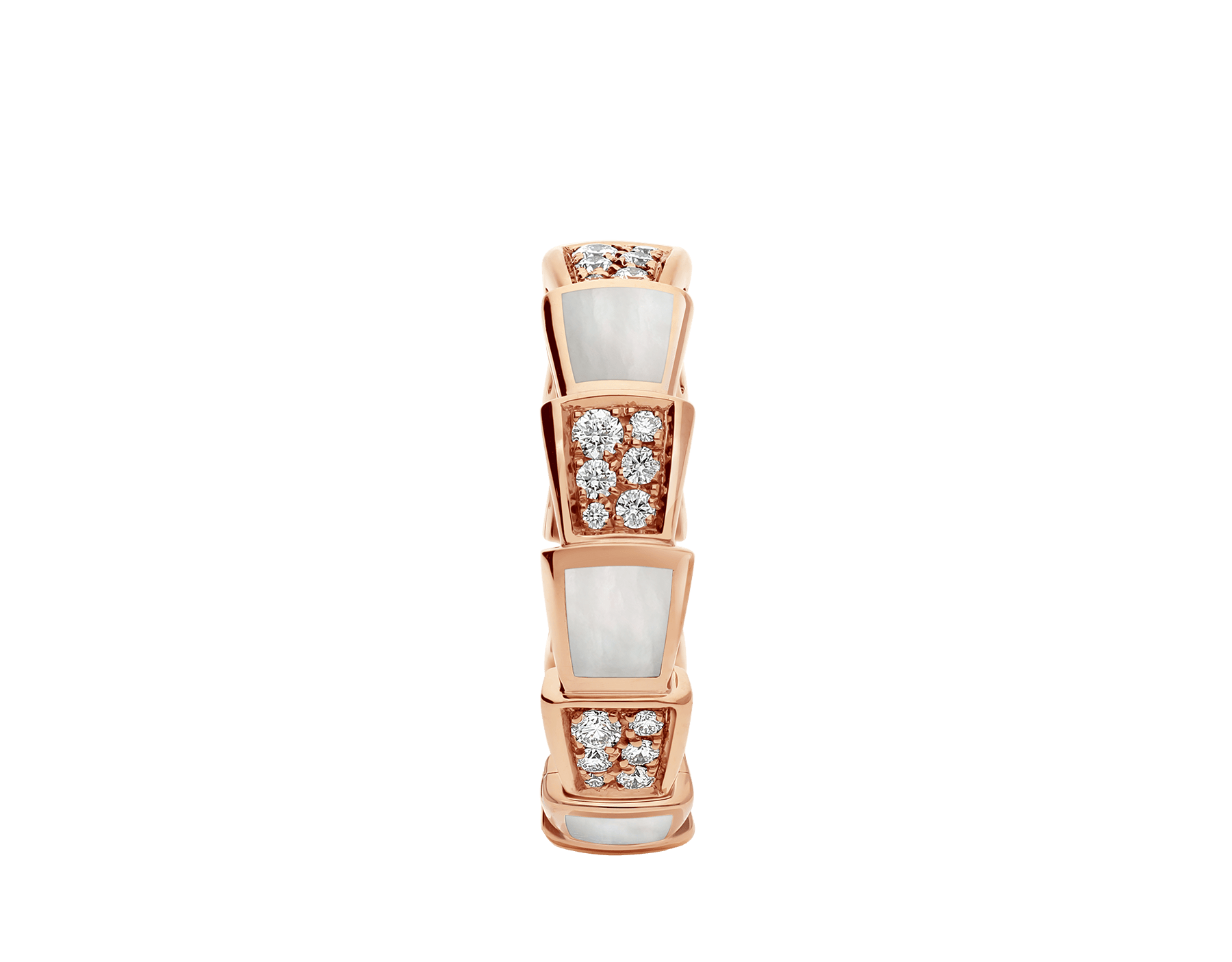 Serpenti Viper band ring in 18 kt rose gold set with mother-of-pearl elements and pavé diamonds . AN858043 image 2