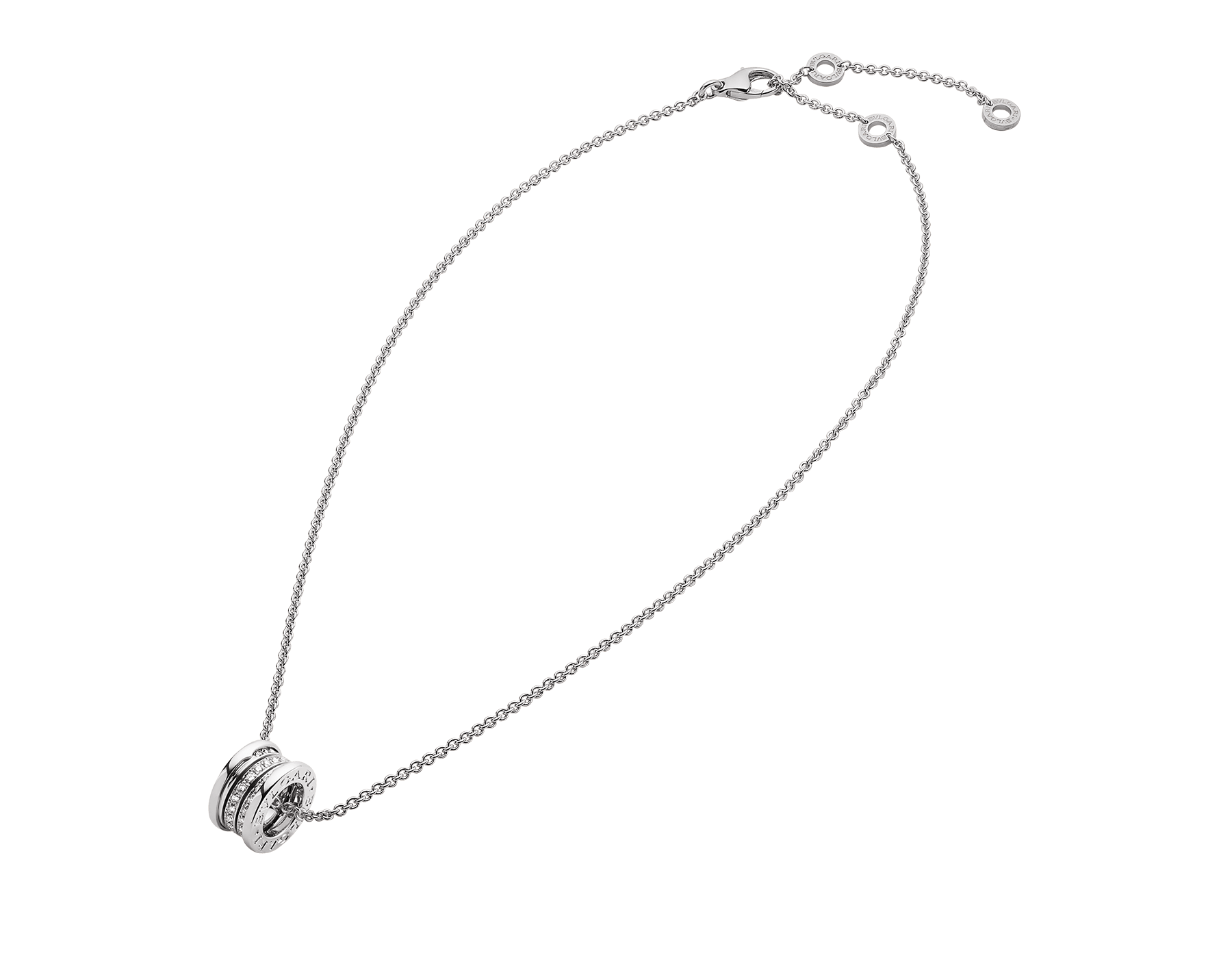 B.zero1 18 kt white gold necklace with small round pendant in 18kt white gold, set with pavé diamonds on the spiral. 352816 image 2