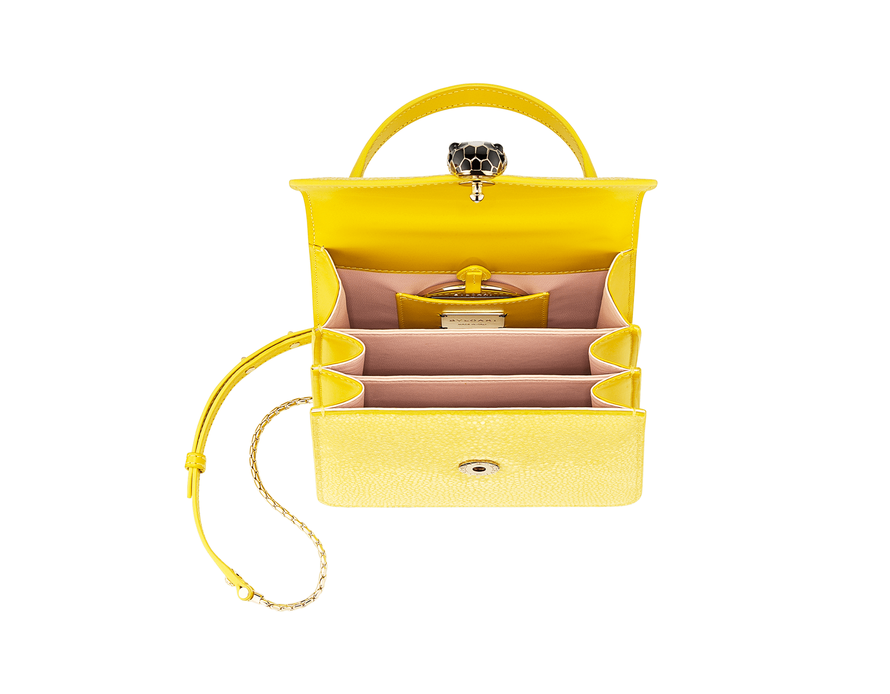 """Serpenti Forever "" crossbody bag in daisy topaz full galuchat skin body and daisy topaz calf leather sides. Iconic snakehead closure in light gold plated brass enriched with black and white enamel and black onyx eyes. 289911 image 4"