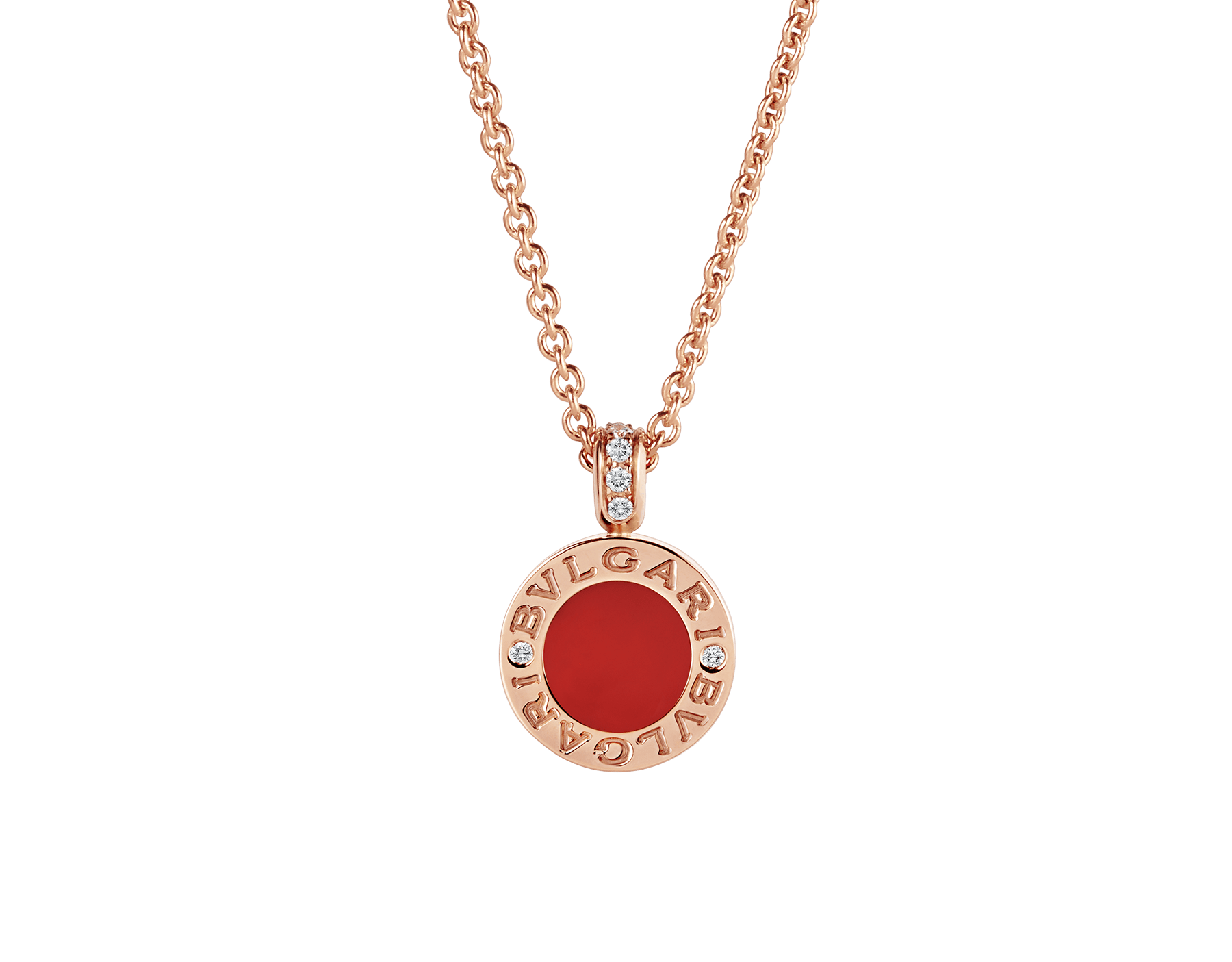 BVLGARI BVLGARI necklace with 18 kt rose gold chain and pendant, set with carnelian and mother-of-pearl discs and with details in pavé diamonds. 352883 image 1