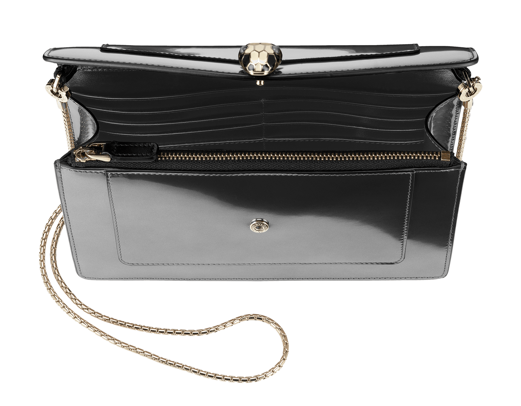 Chain pouch in royal sapphire brushed metallic and black calf leather, with brass light gold plated hardware. Serpenti head stud closure in black and white enamel with eyes in green malachite. SEA-CHAINPOUCH-BMCL image 2