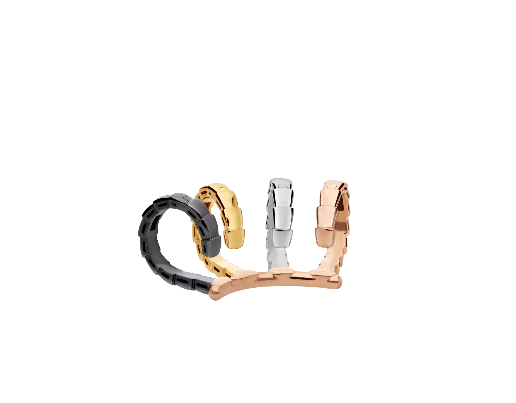 Serpenti Viper single earring in 18 kt rose, white and yellow gold, and black rhodium 356173 image 2