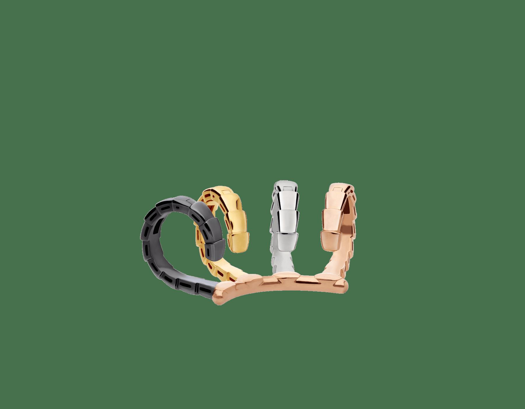 Pendiente individual Serpenti Viper en oro rosa, blanco y amarillo de 18qt y rodio negro 356173 image 2