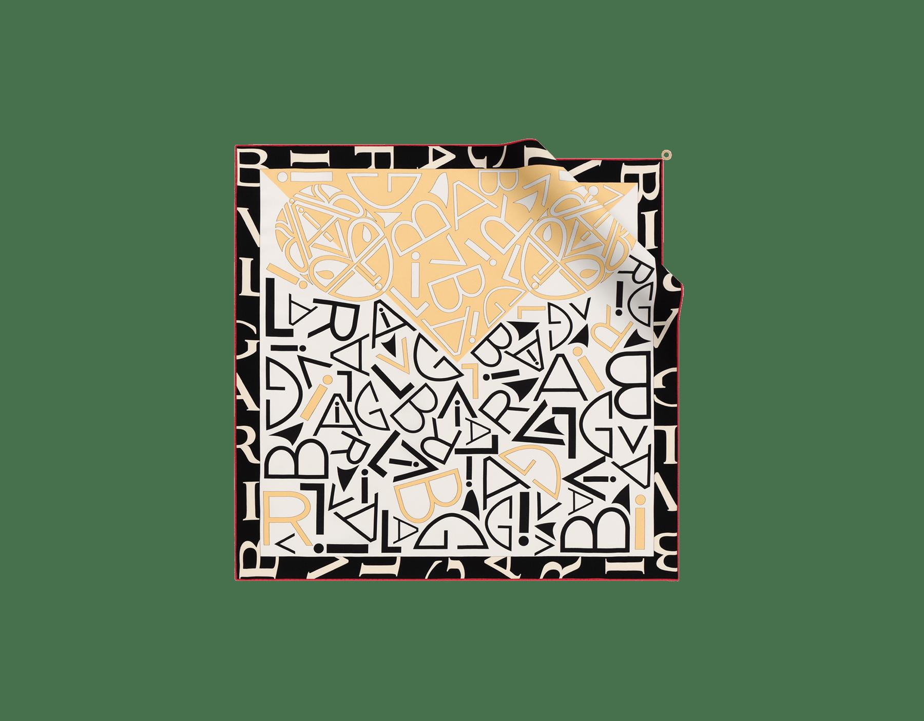 """Teal Topaz green """"Tangram Logo"""" scarf in fine printed silk twill. TANGRAMLOGO image 1"""