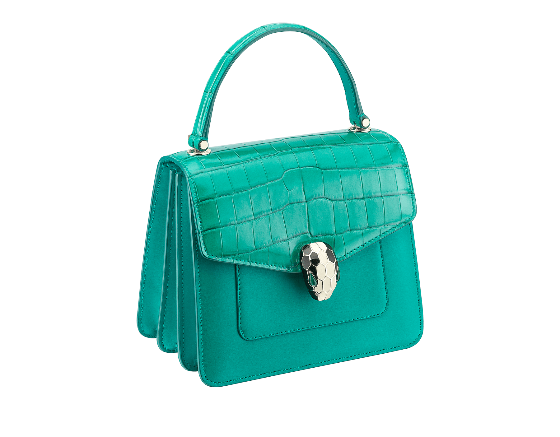 Serpenti Forever crossbody bag in tropical turquoise shiny croco skin and smooth calf leather. Snakehead closure in light gold plated brass decorated with black and white enamel, and green malachite eyes. 752-CLCR image 2