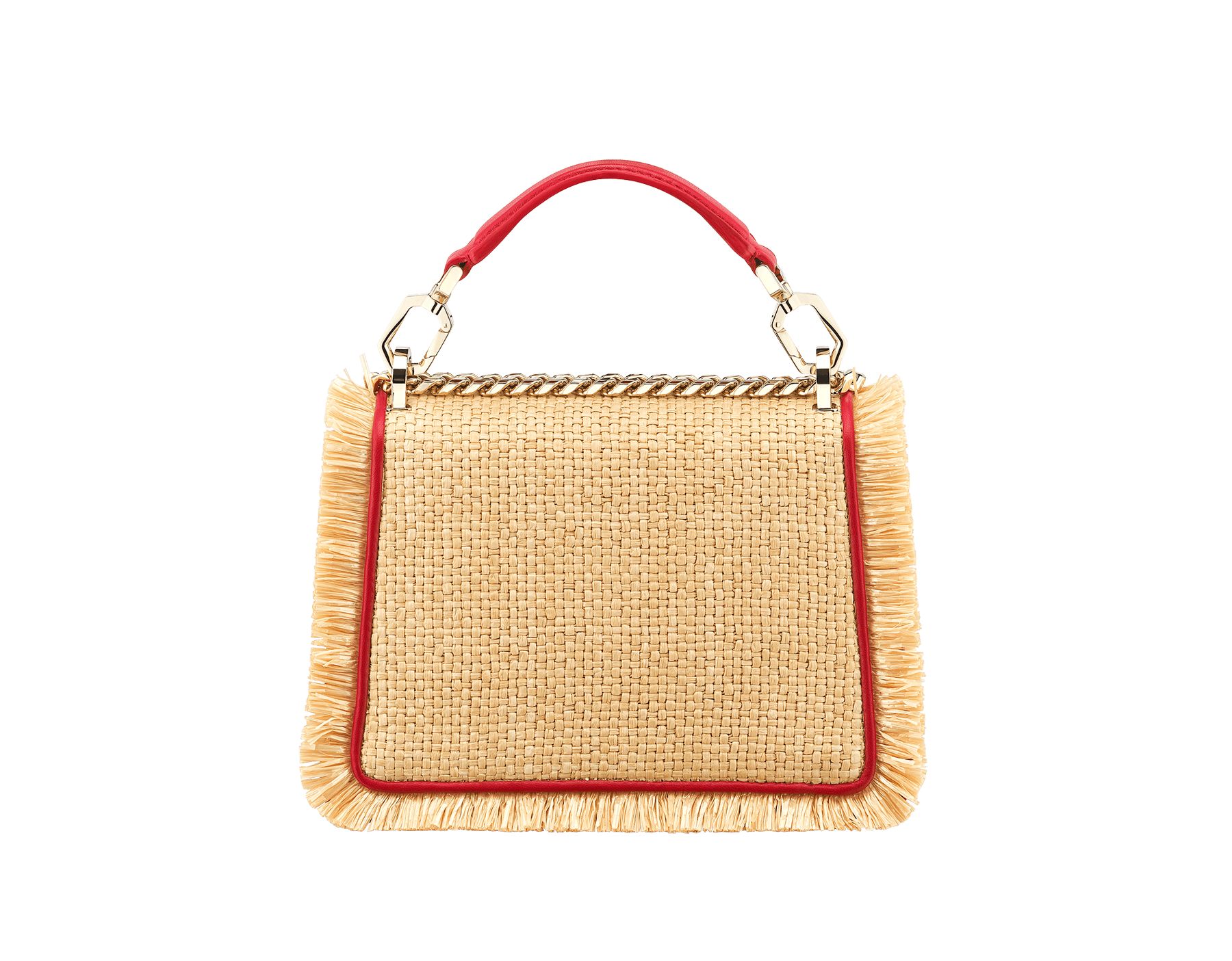 """Serpenti Diamond Blast"" crossbody bag in beige raffia and Carmine Jasper red calfskin frames finished with beige raffia fringes, and Carmine Jasper red nappa leather internal lining. Alluring snakehead closure in light gold-plated brass, enhanced with full matte Natural beige enamel and black onyx eyes. 290906 image 3"