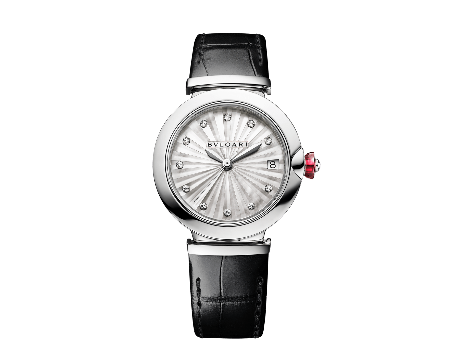 LVCEA watch with stainless steel case, white mother-of-pearl Intarsio marquetry dial, diamond indexes and black alligator bracelet 103478 image 1