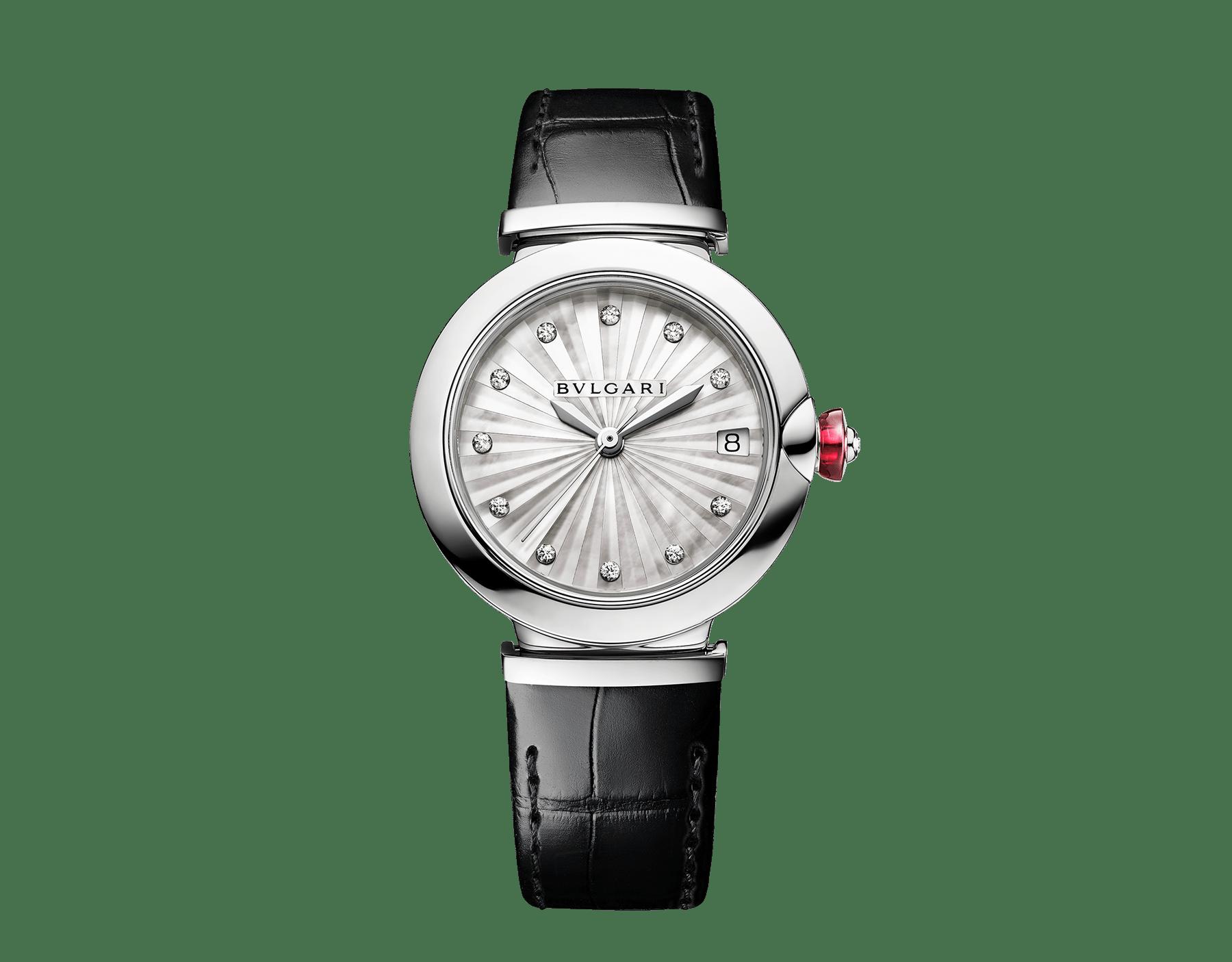 LVCEA Uhr mit Gehäuse aus Edelstahl, Zifferblatt mit weißem Perlmutt-Intarsio, Diamantindizes und schwarzem Armband aus Alligatorleder 103478 image 1