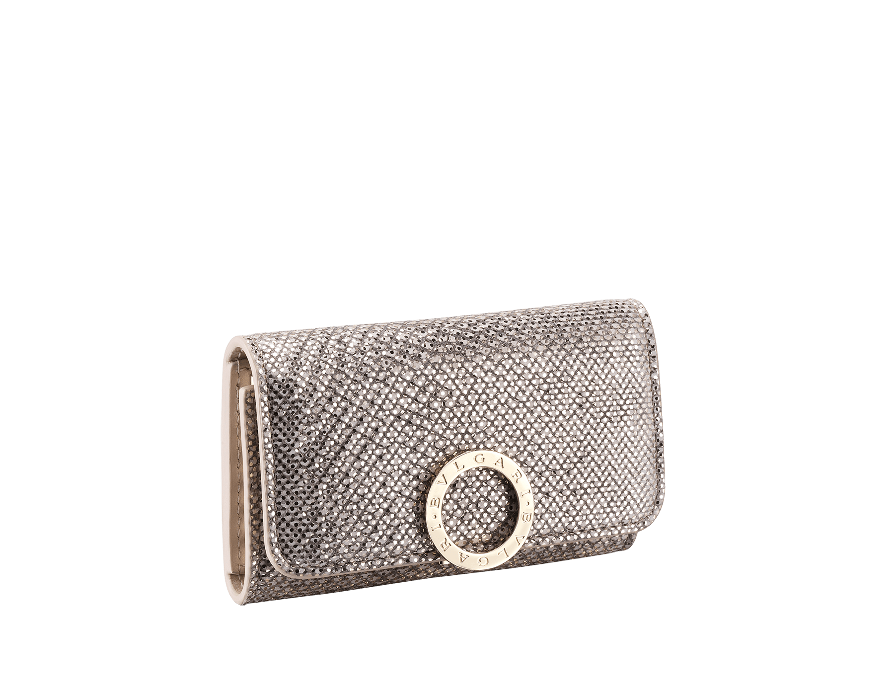 Small keyholder in emerald green shiny karung skin, emerald green calf leather and amethyst purple nappa lining. Iconic brass light gold plated clip featuring the BVLGARI BVLGARI motif. 579-KEYHOLDER-S-MK image 1