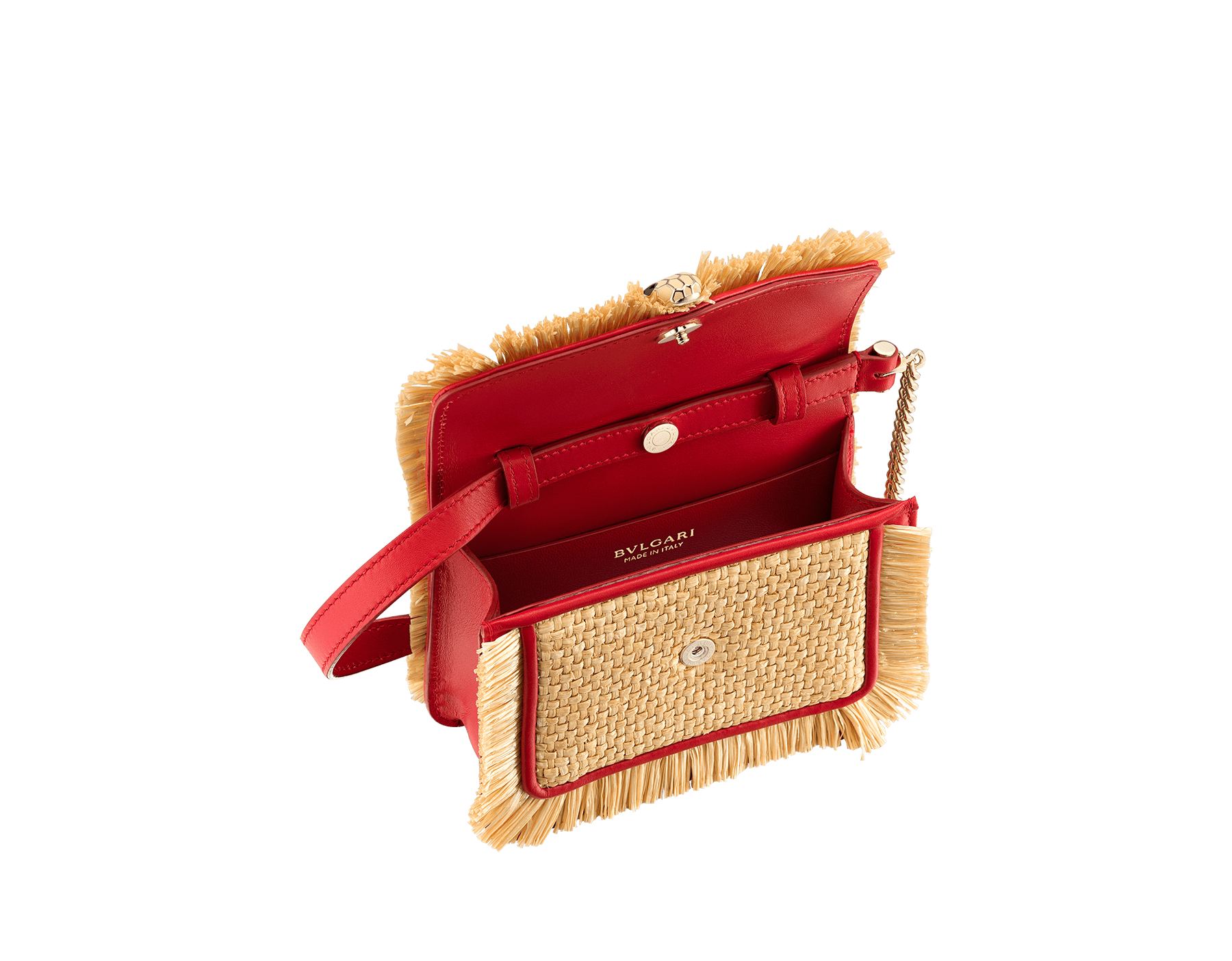 """""""Serpenti Forever"""" mini bag in beige raffia and Carmine Jasper red calfskin frames enhanced with beige raffia fringes, and Carmine Jasper red nappa leather internal lining. Light gold-plated brass snakehead closure enhanced with full matte Natural beige enamel and black onyx eyes. 290969 image 2"""