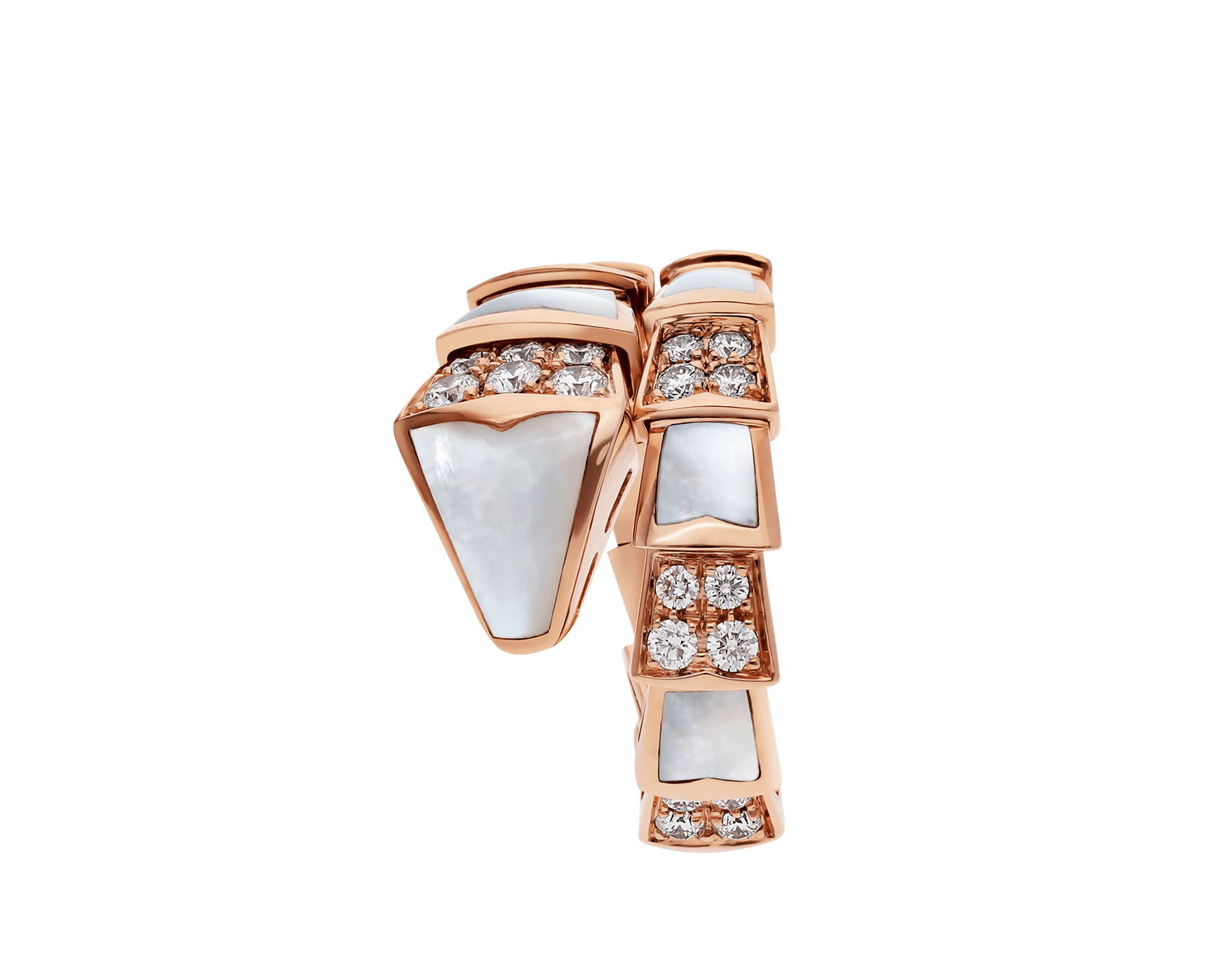Serpenti Viper one-coil ring in 18 kt rose gold, set with mother-of-pearl elements and pavé diamonds. AN857081 image 2