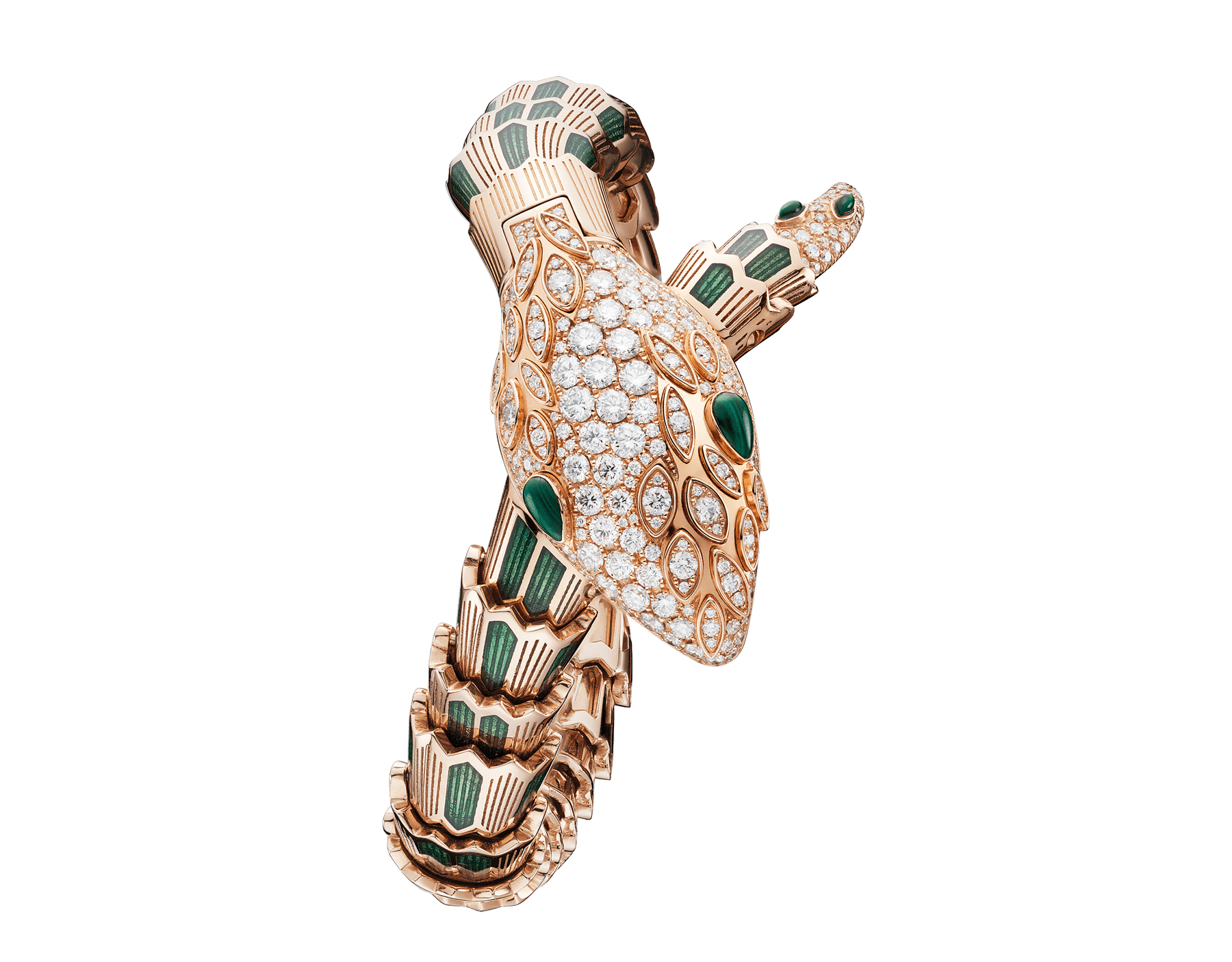 Serpenti Secret Watch with 18 kt rose gold head set with brilliant cut diamonds and malachite eyes, 18 kt rose gold case, 18 kt rose gold dial and single spiral bracelet, both set with brilliant cut diamonds, malachites and green enamel. 102240 image 1