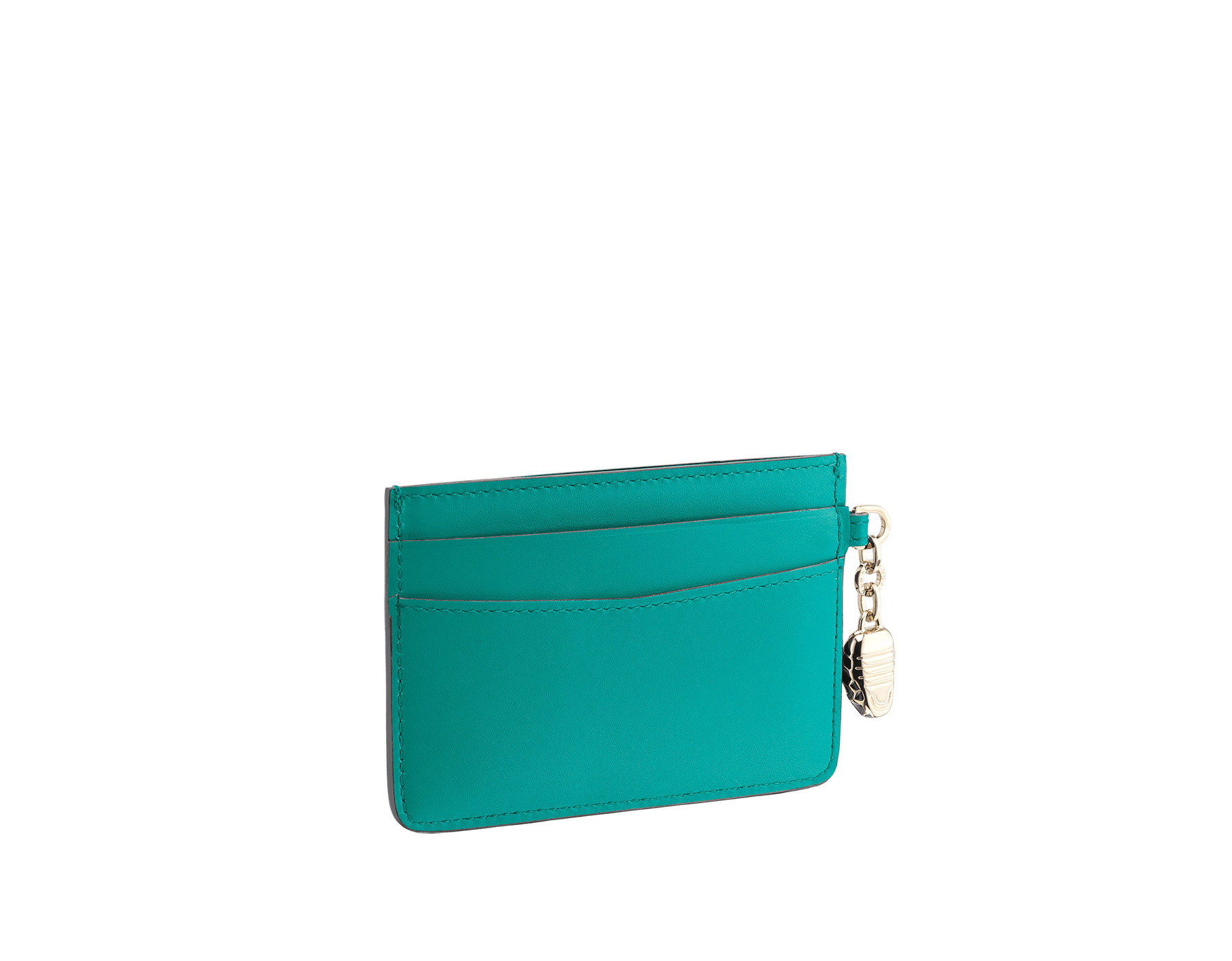 Serpenti Forever credit card holder in tropical tourquoise and deep jade calf leather. Iconic snakehead charm in black and white enamel, with green malachite enamel eyes. 288020 image 2