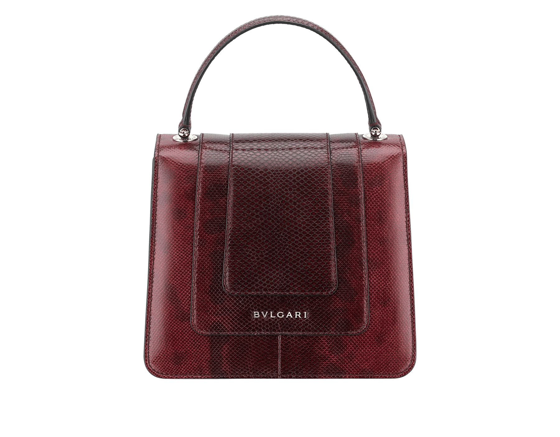 Flap cover bag Serpenti Forever in roman garnet shiny karung skin. Brass light gold plated hardware and tempting snake head closure in shiny black and white enamel, with eyes in green malachite. 286198 image 3