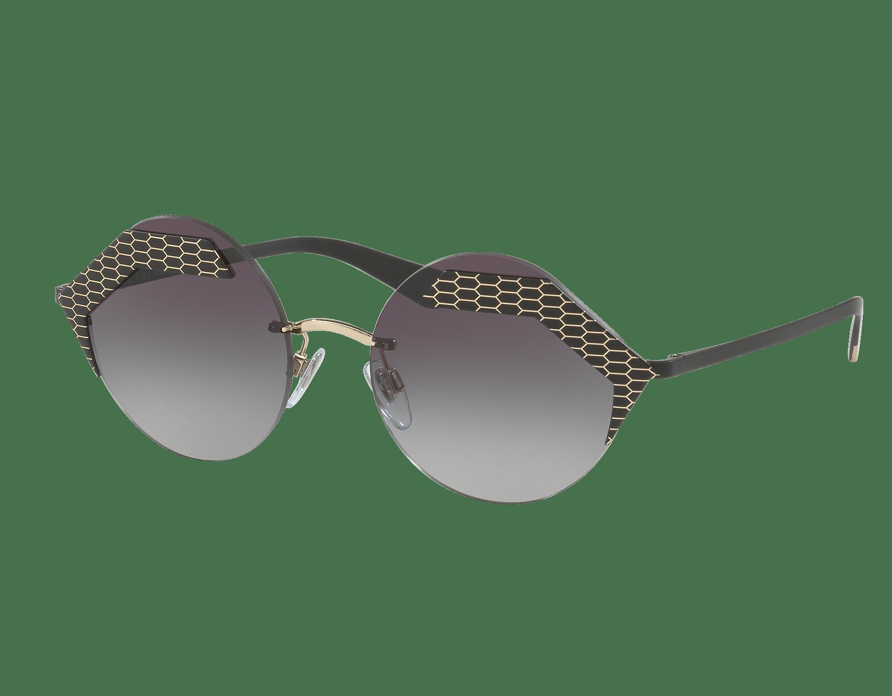 Bulgari 'Serpenteyes' hexagonal metal frame sunglasses with flat round lenses. 903234 image 1