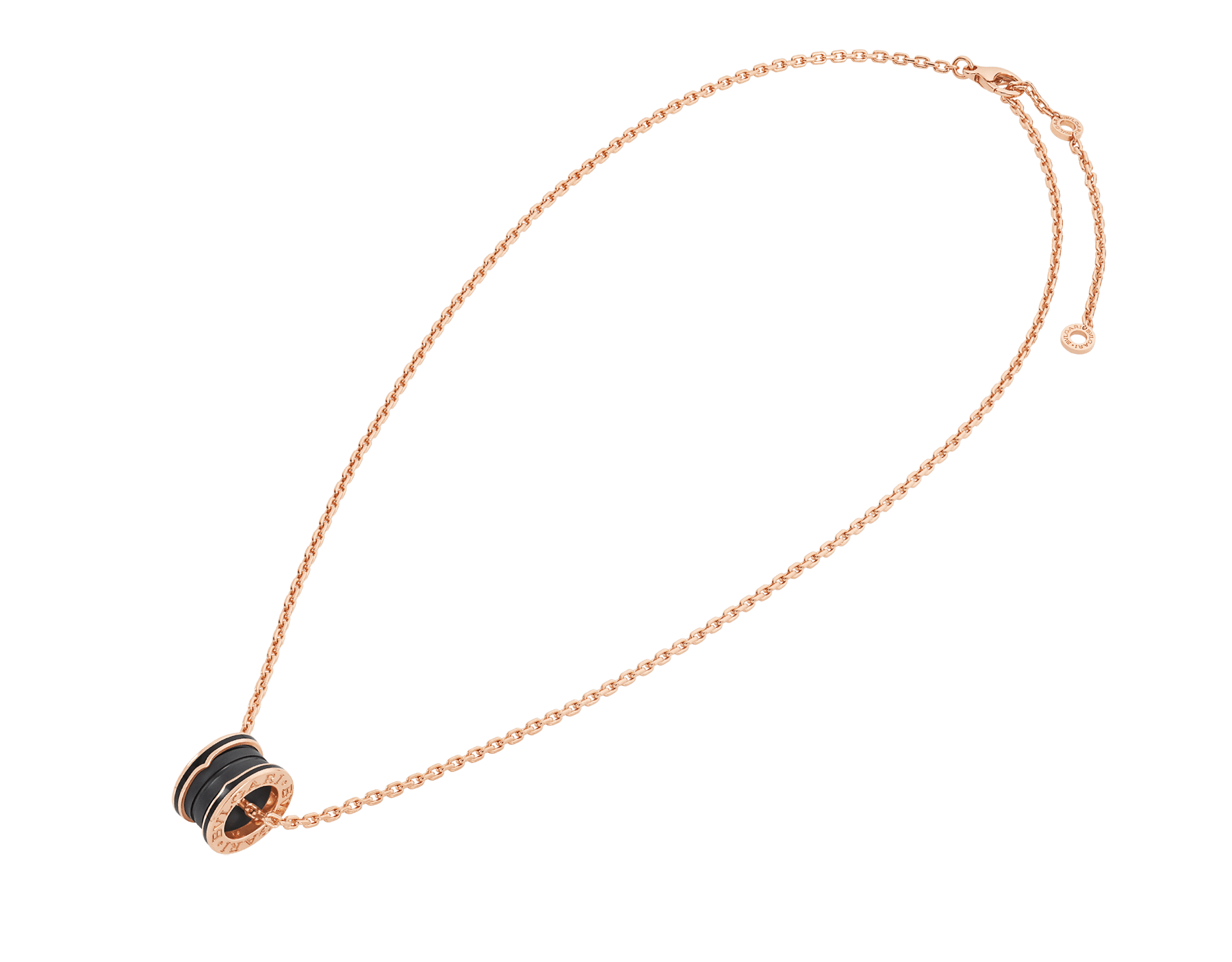 B.zero1 pendant necklace in 18 kt rose gold with matte black ceramic 358050 image 2