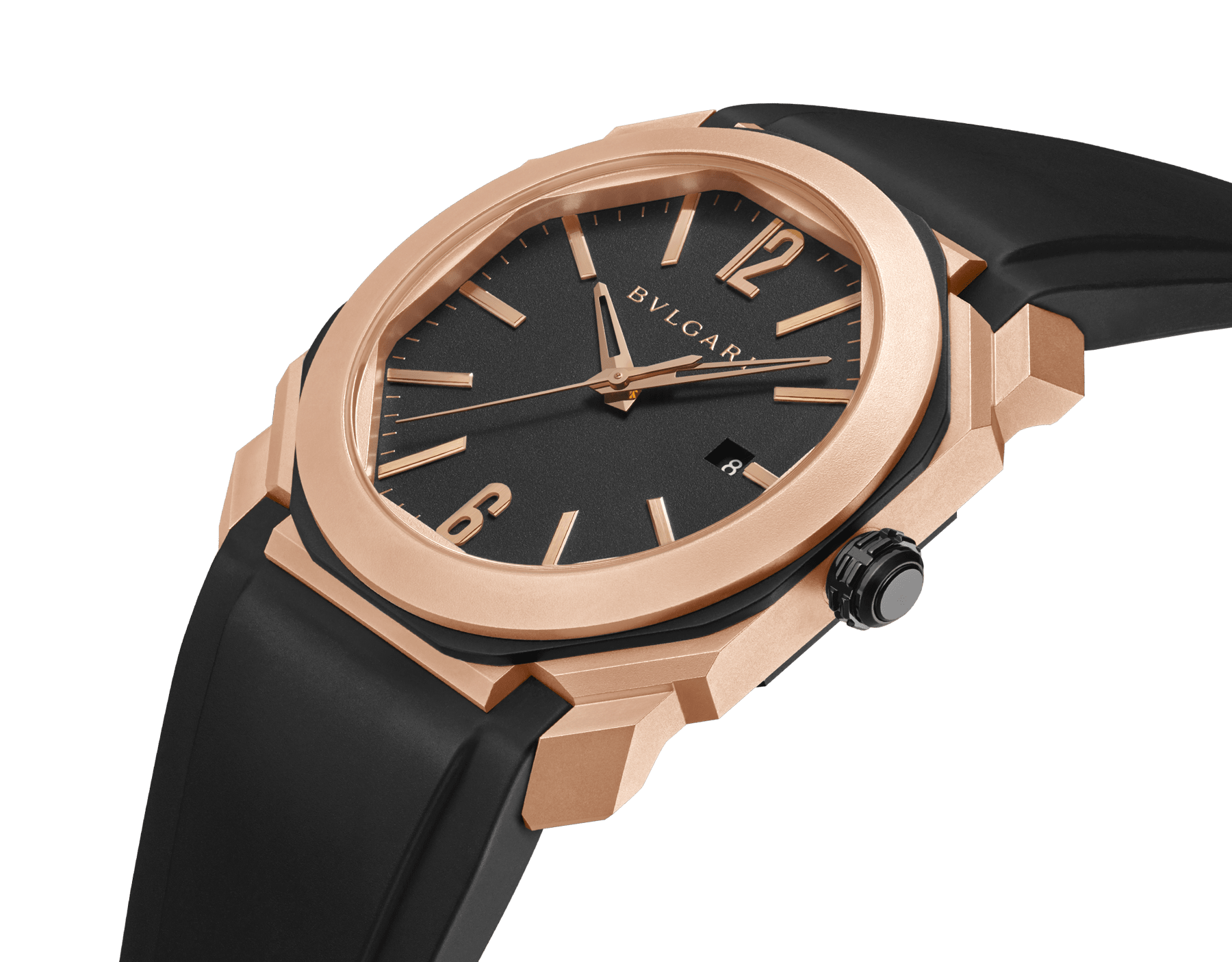 Octo L'Originale watch with mechanical manufacture movement, automatic winding and date, case in sandblasted steel with Diamond Like Carbon treatment and 18 kt rose gold, transparent case back, anthracite dial and black rubber bracelet. Water-resistant up to 100 metres 103203 image 2