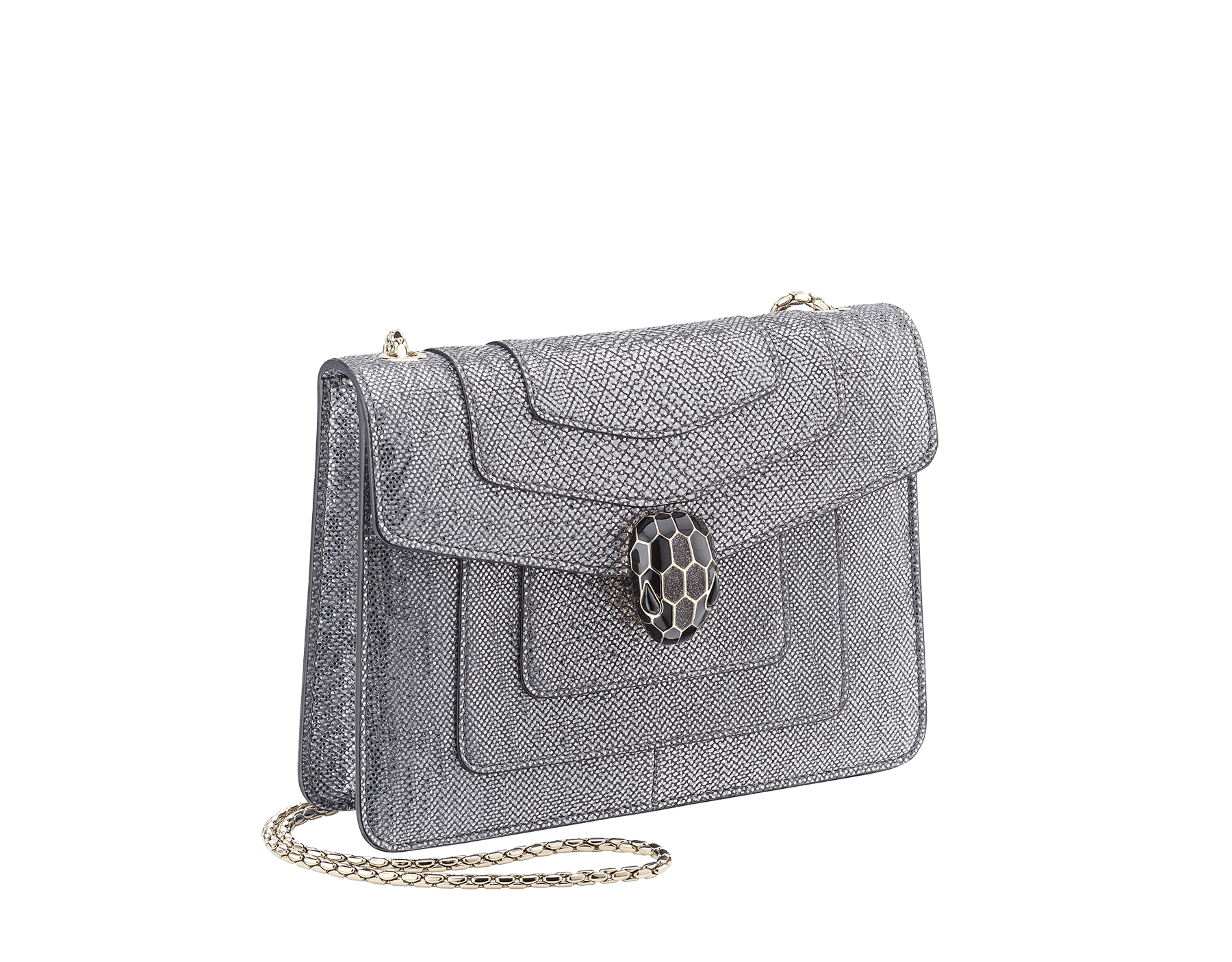 Serpenti Forever crossbody bag in charcoal diamond metallic karung skin. Snakehead closure in light gold plated brass decorated with glitter charcoal diamond and shiny black enamel, and black onyx eyes. 287939 image 2