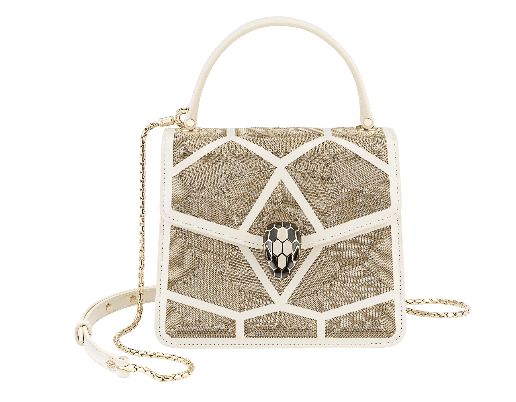 """Serpenti Forever "" crossbody bag in black calf leather and Million Chain motif body and black calf leather sides. Iconic snake head closure in light gold plated brass enriched with black enamel and black onyx eyes. 752-CP image 1"