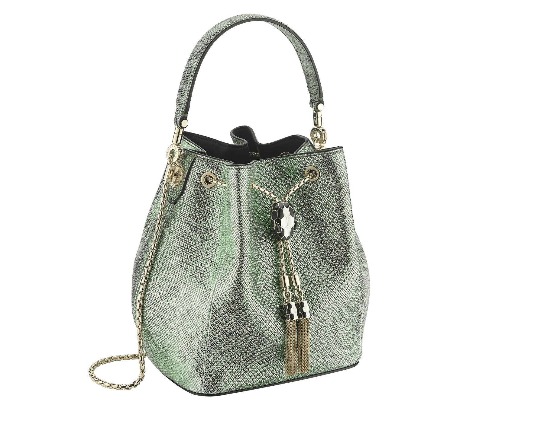 """Serpenti Forever"" bucket in mint metallic karung skin and black nappa internal lining. Hardware in light gold plated brass and snakehead closure in black and white agate enamel, with eyes in black onyx. 934-MK image 2"