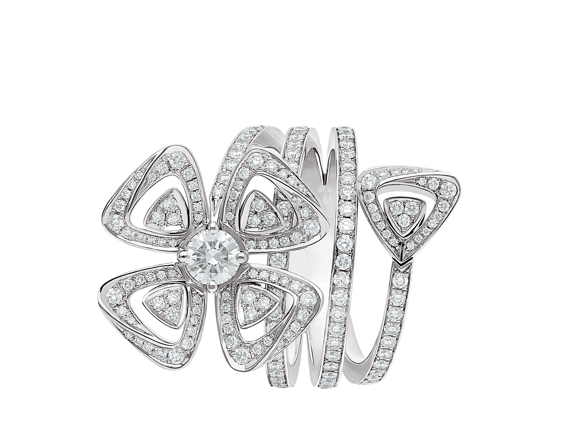 Fiorever 18 kt white gold ring set with a central brilliant-cut diamond (0.30 ct) and pavé diamonds (0.79 ct) AN859148 image 2