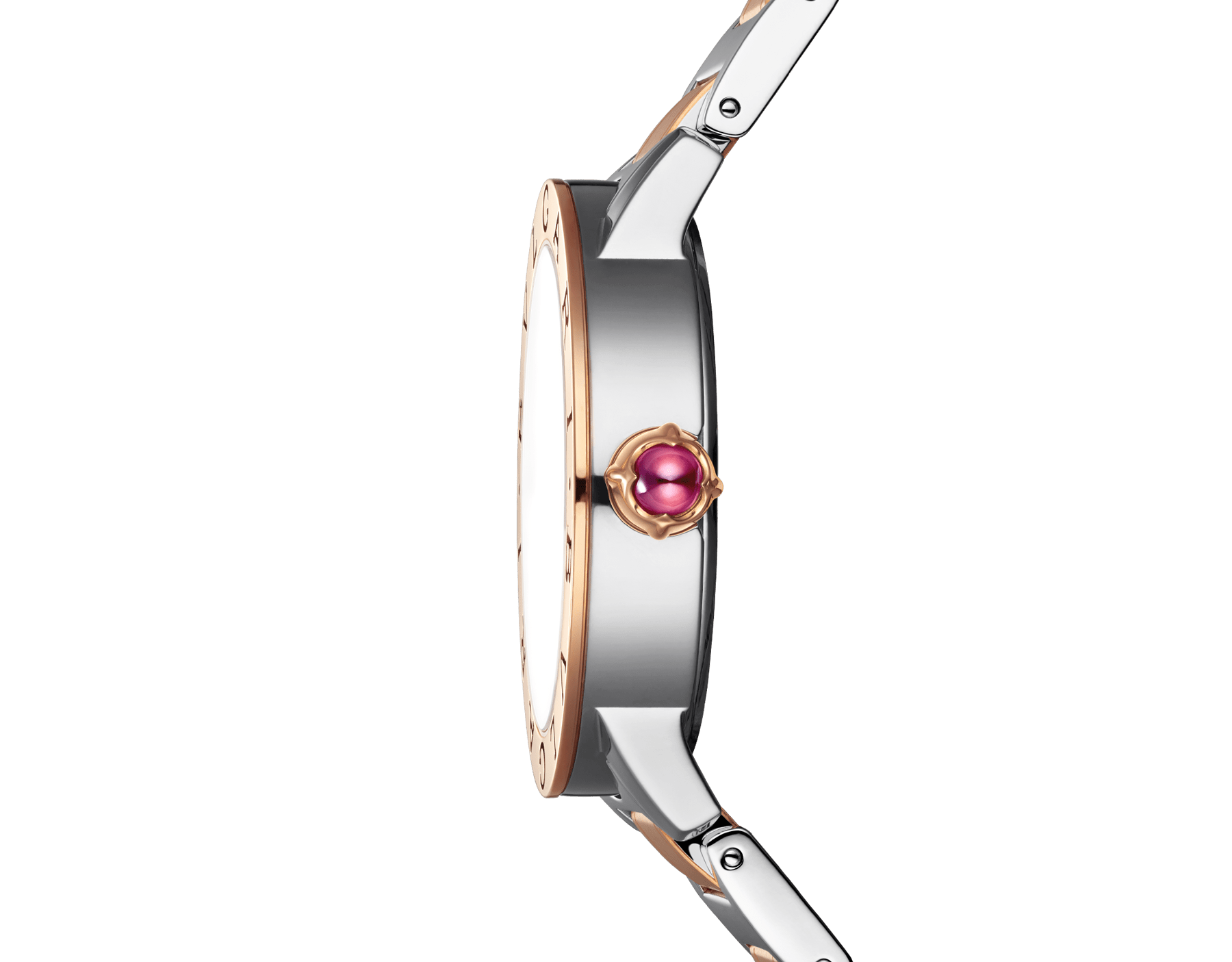 BVLGARI BVLGARI LADY watch in stainless steel and 18 kt rose gold case and bracelet, with purple satiné soleil lacquered dial and diamond indexes 102622 image 3