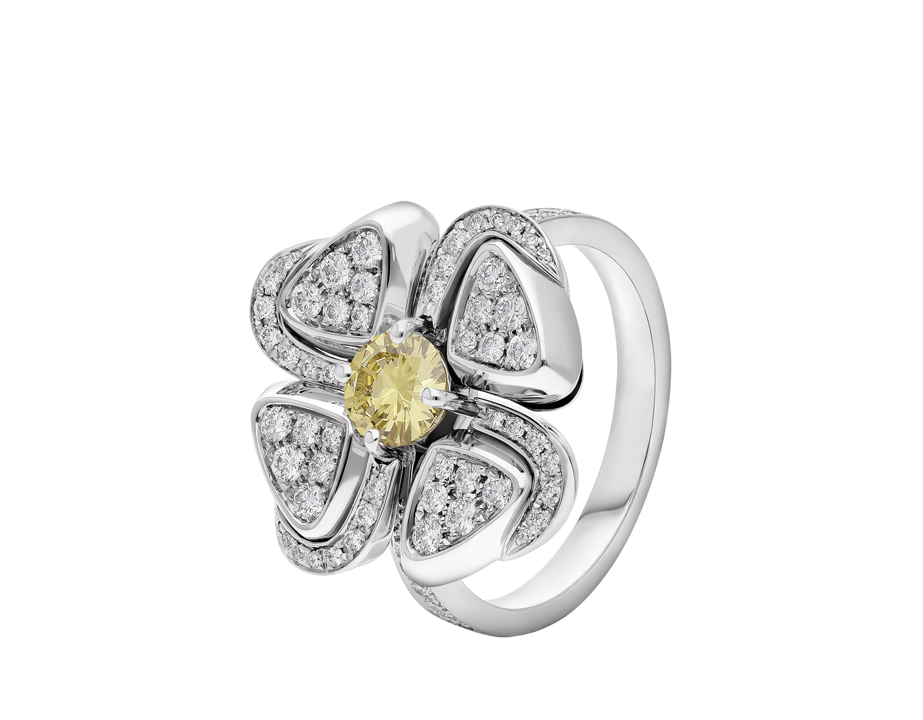 Fiorever 18 kt white gold ring set with one central yellow diamond (0.30 ct) and pavé diamonds AN858908 image 1