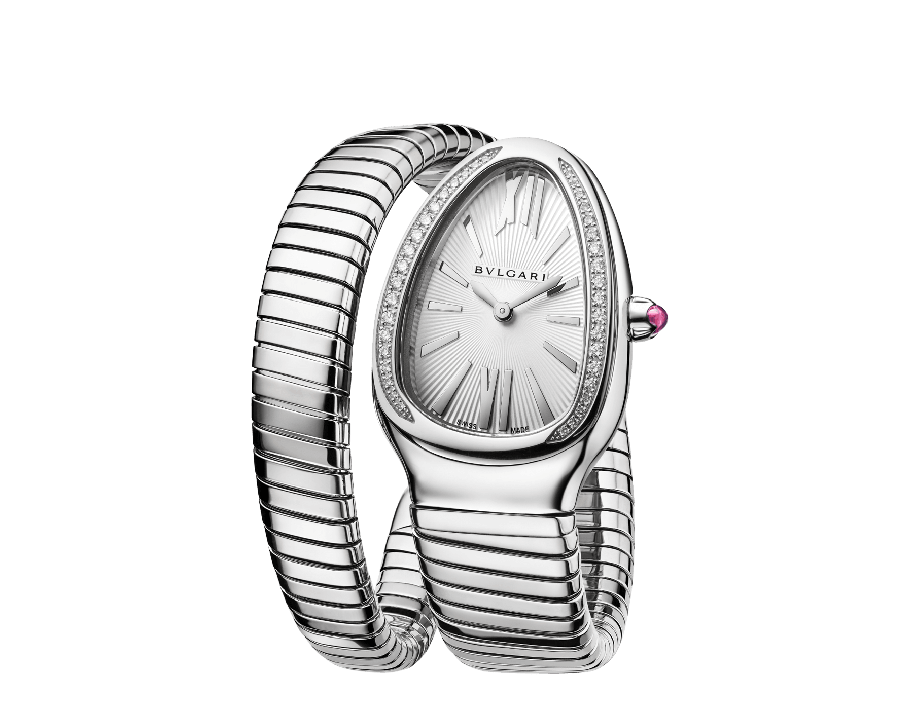Serpenti Tubogas single spiral watch in stainless steel case and bracelet, bezel set with brilliant cut diamonds and silver opaline dial. Large Size. SrpntTubogas-white-dial2 image 2